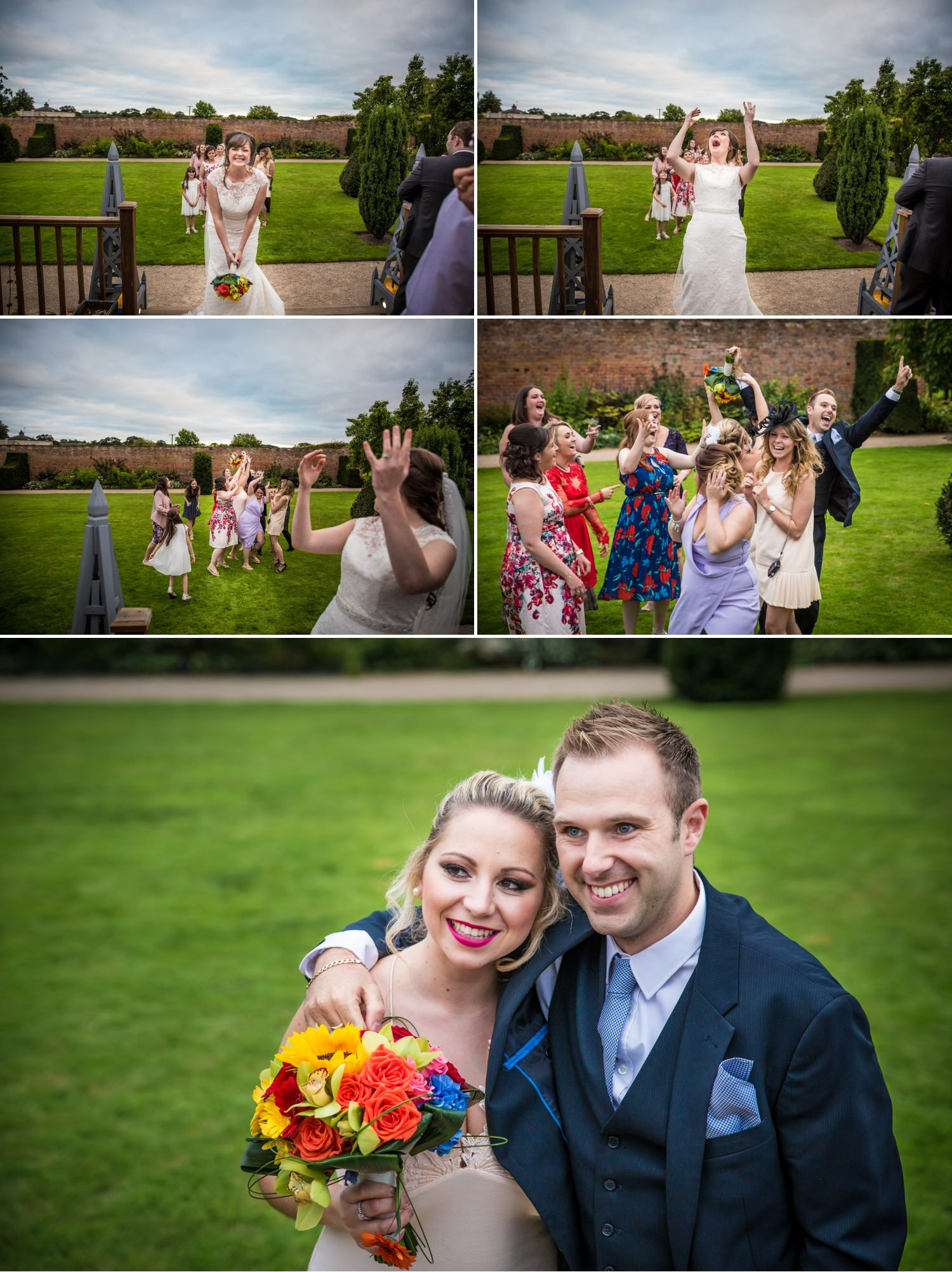 Flower toss at wedding venue in Cheshire Combermere Abbey