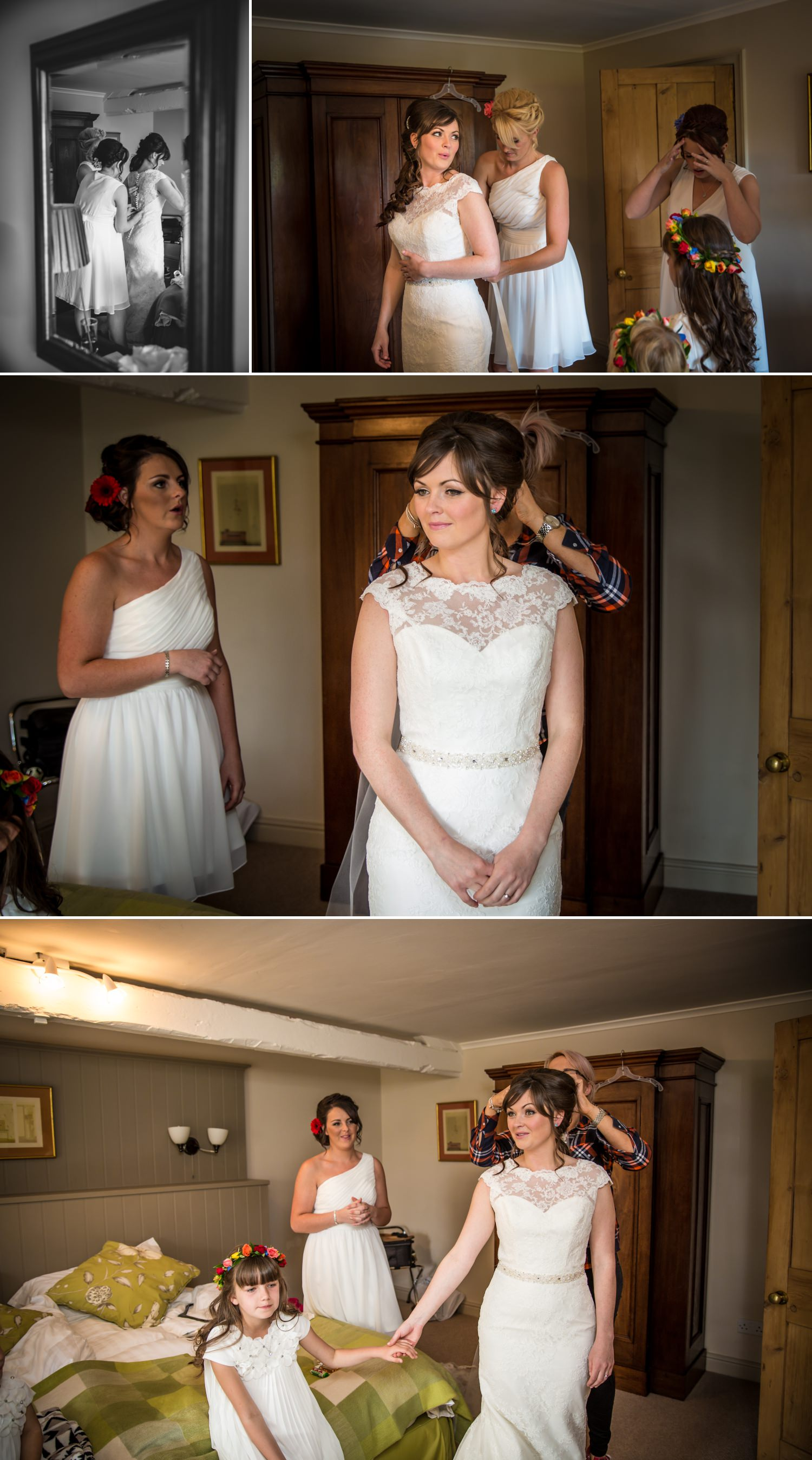 Wedding photography bride getting ready at Cheshire venue Combermere Abbey