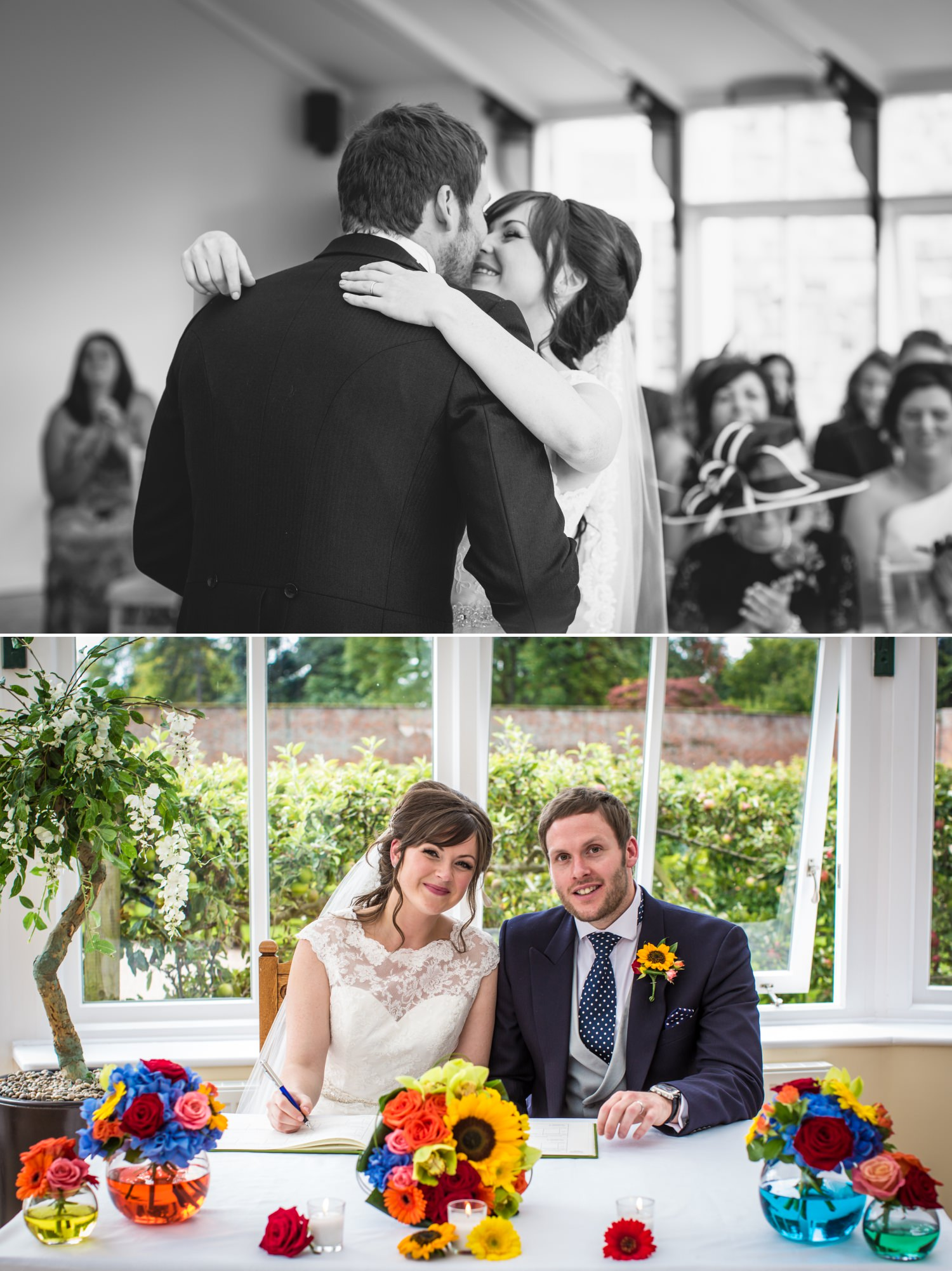 First kiss and signing of the register wedding photography at Cheshire wedding venue Combermere Abbey