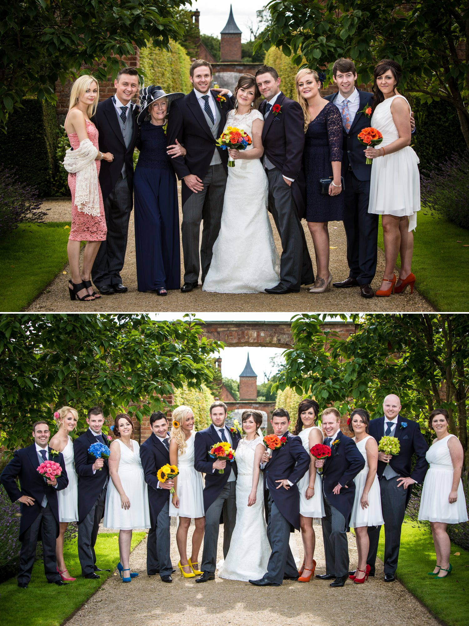 wedding group photography at Cheshire venue Combermere Abbey