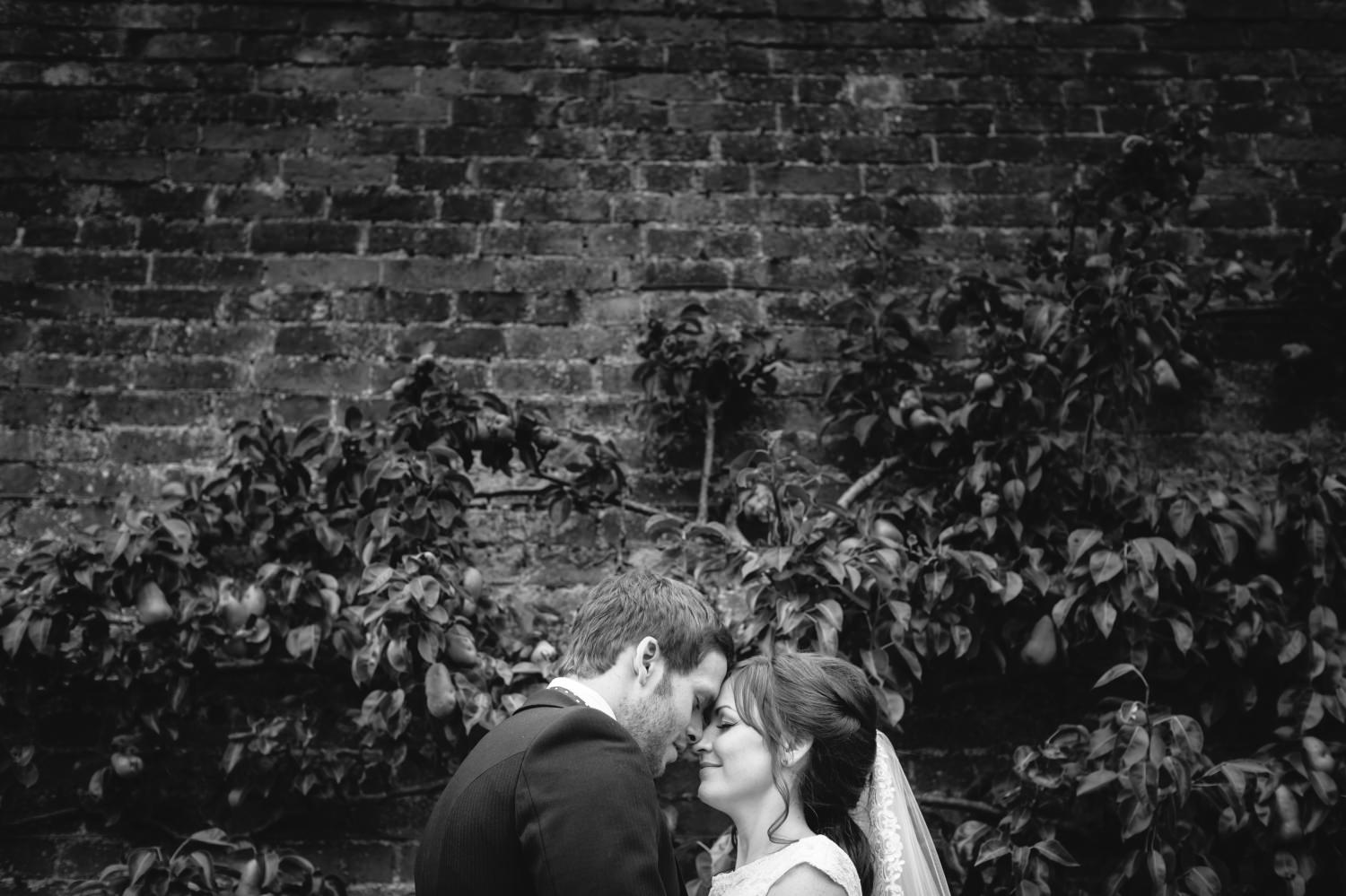Black and white wedding portrait at cheshire venue Combermere Abbey