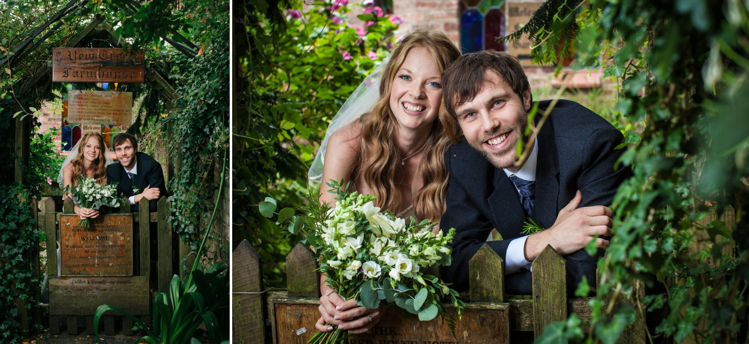 Wedding portraits of couple in Cheshire venue Hundred House Hotel