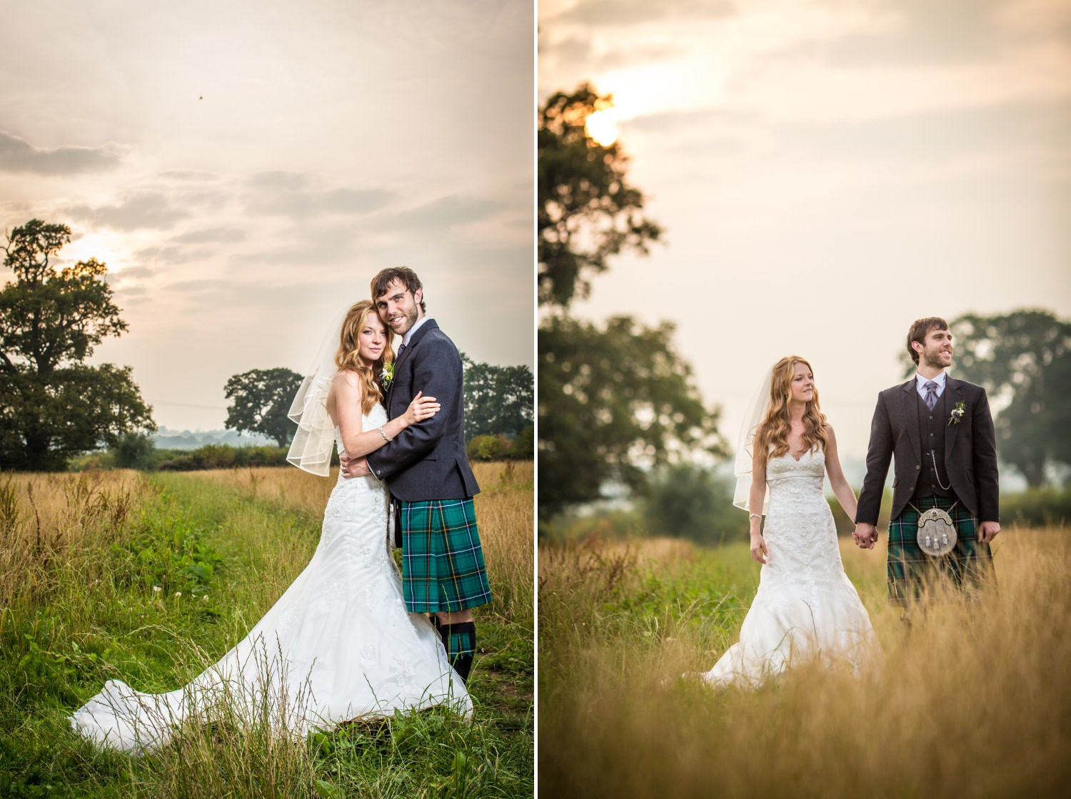 Wedding couple walking through field wedding photography at Cheshire venue Hundred House Hotel