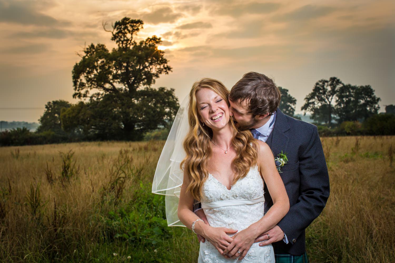 Wedding sunset photography portrait at Cheshire Hundred House Hotel