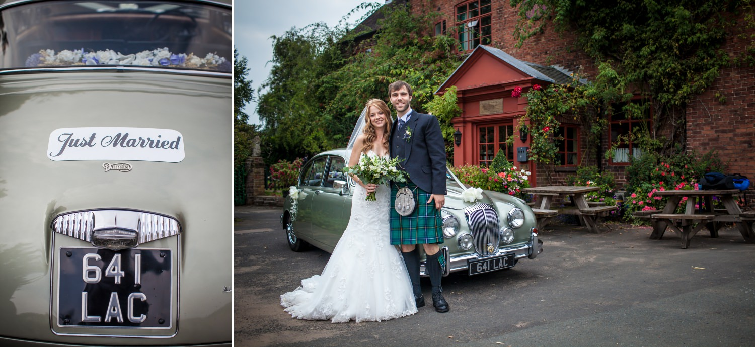 Wedding car at Cheshire venue Hundred House Hotel