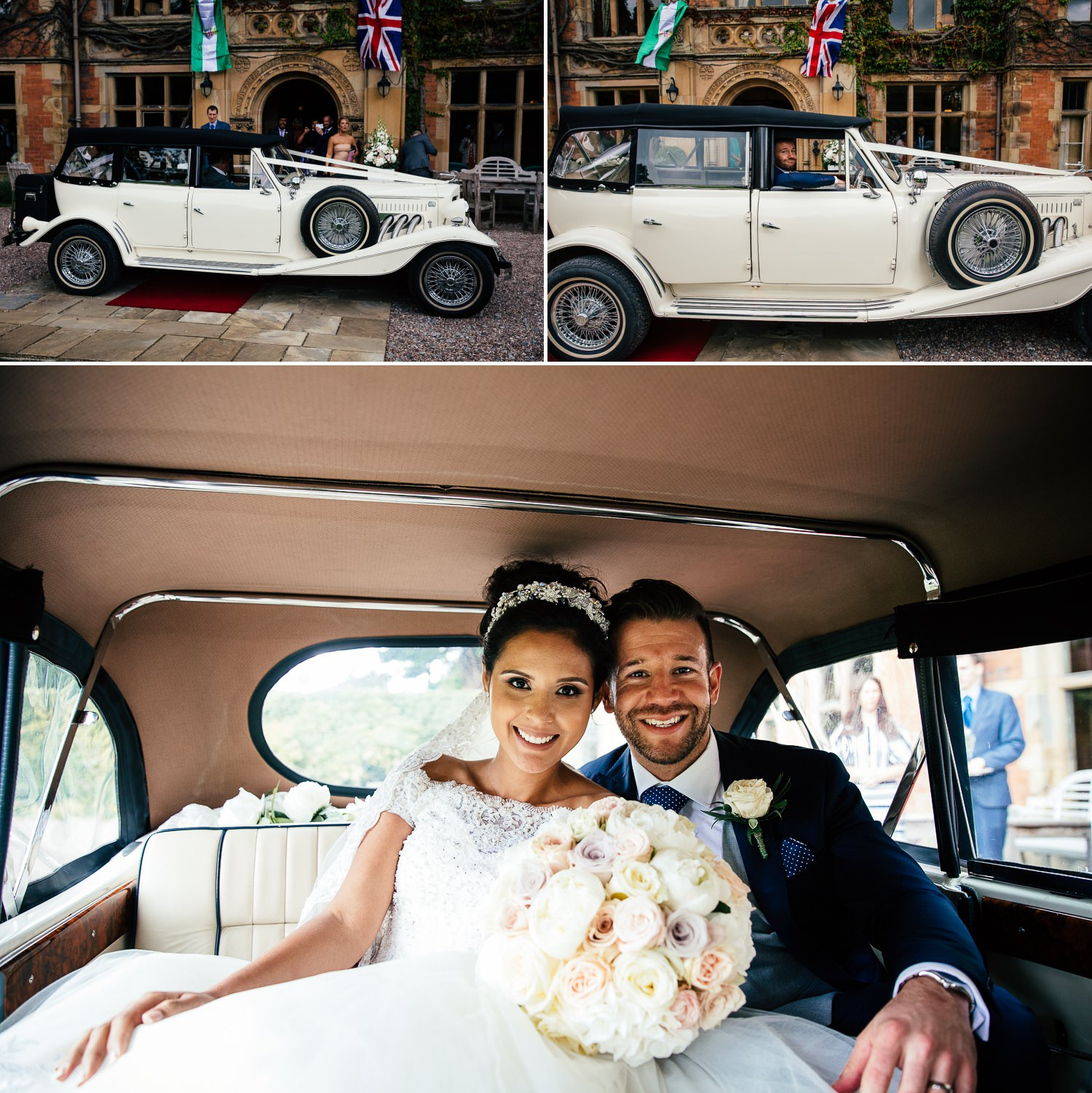 Wedding photography of couple in wedding car at Soughton Hall, Chester, Cheshire