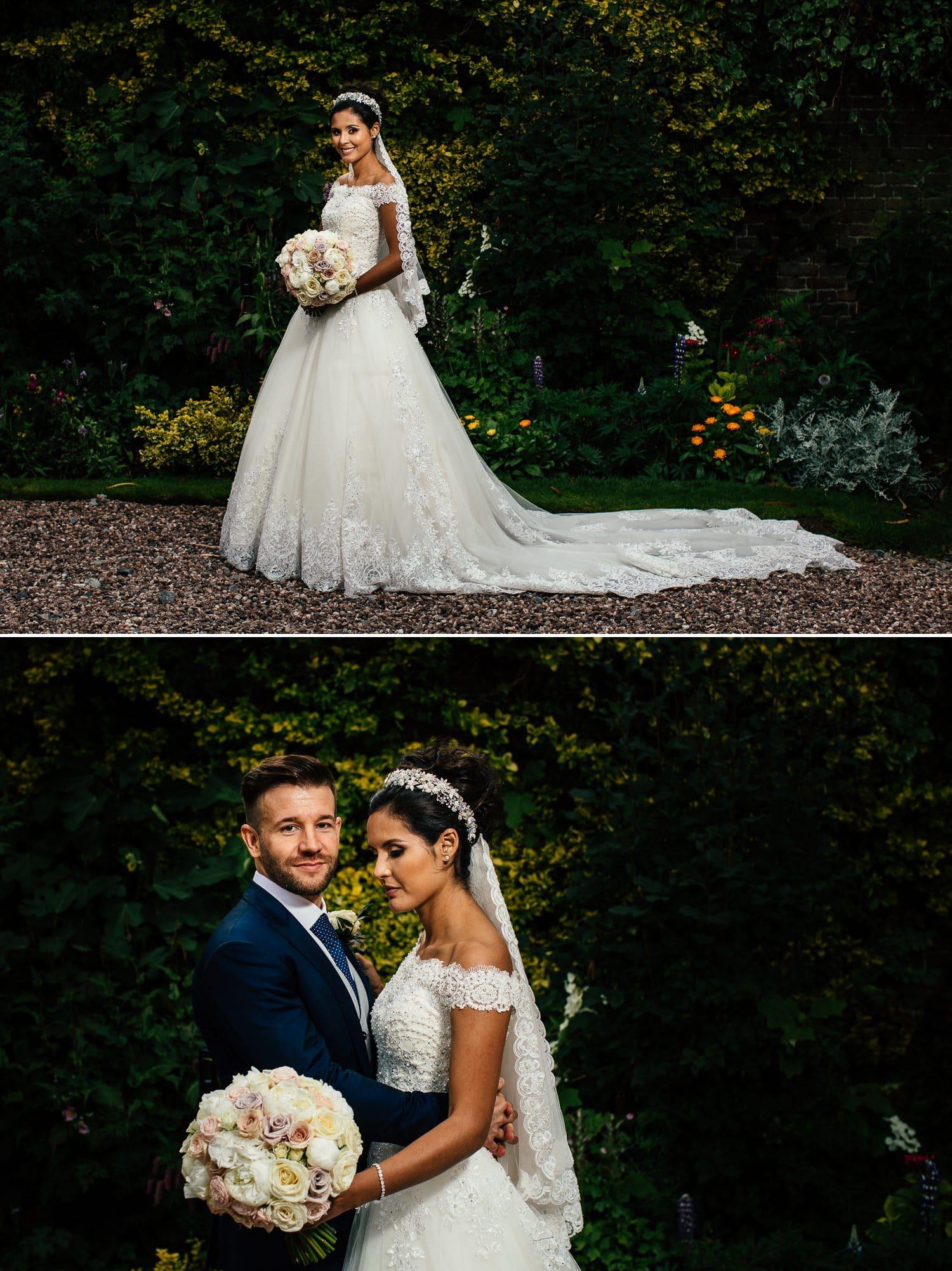 Wedding photography couple portraits  in wedding gardens at Soughton Hall