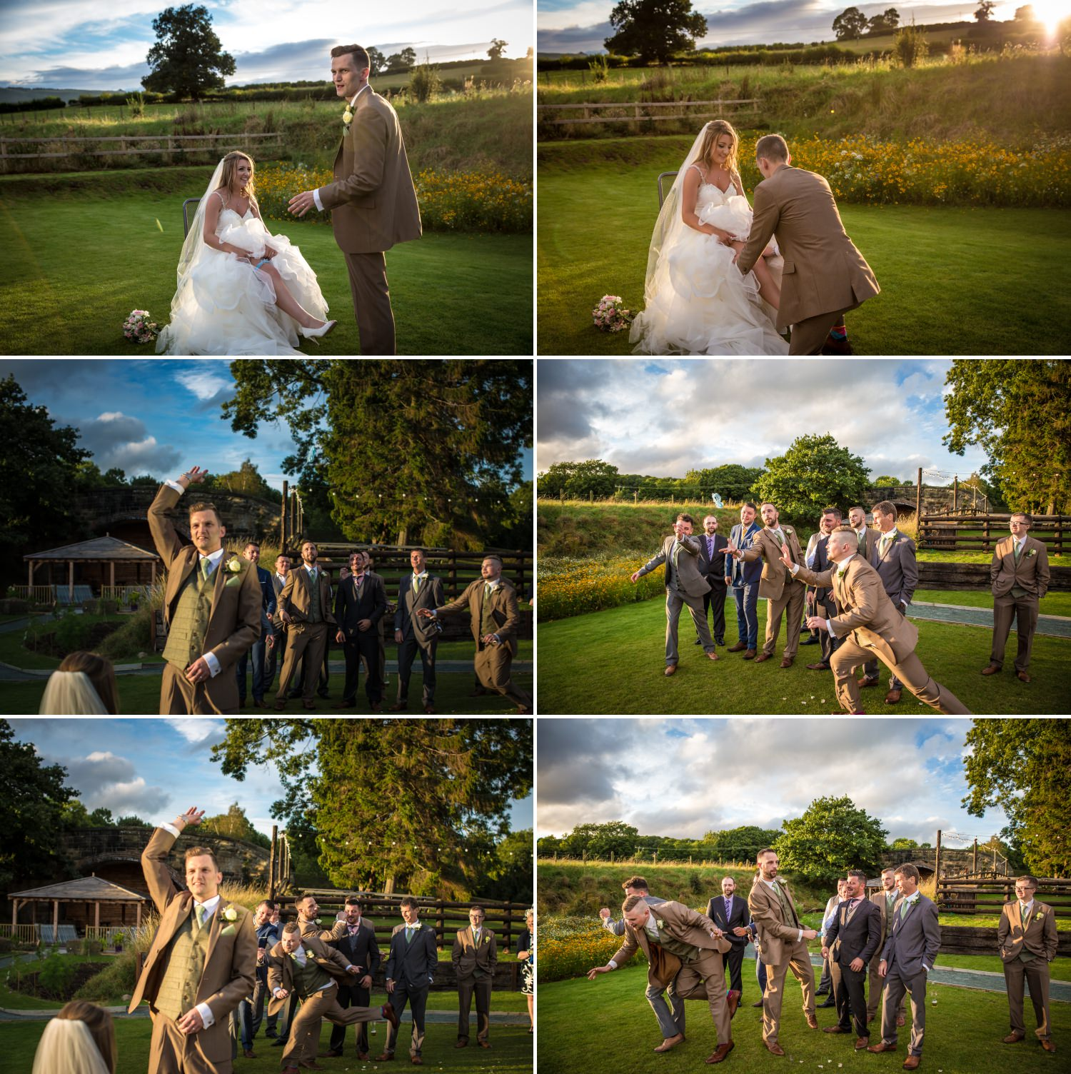 Wedding photography of groom doing toss at Tower Hill Barns, North Wales