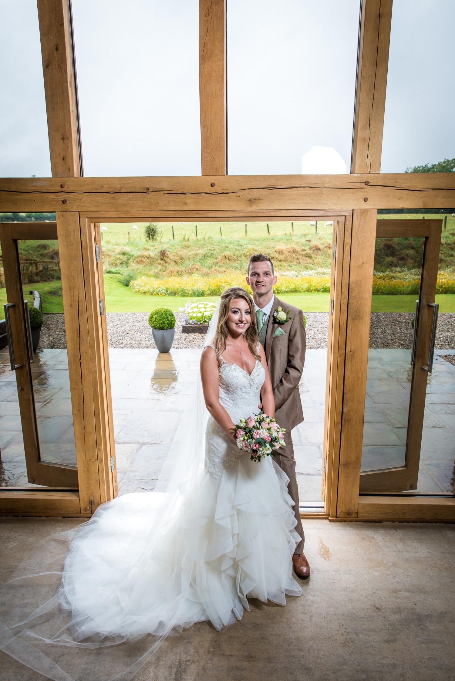 Wedding photography bridal portraits at Tower Hill Barns, North Wales