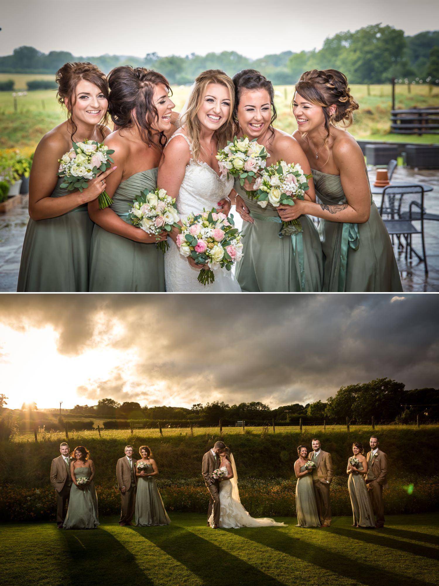 Wedding photography group shots of bridal party at Tower Hill Barns, North Wales