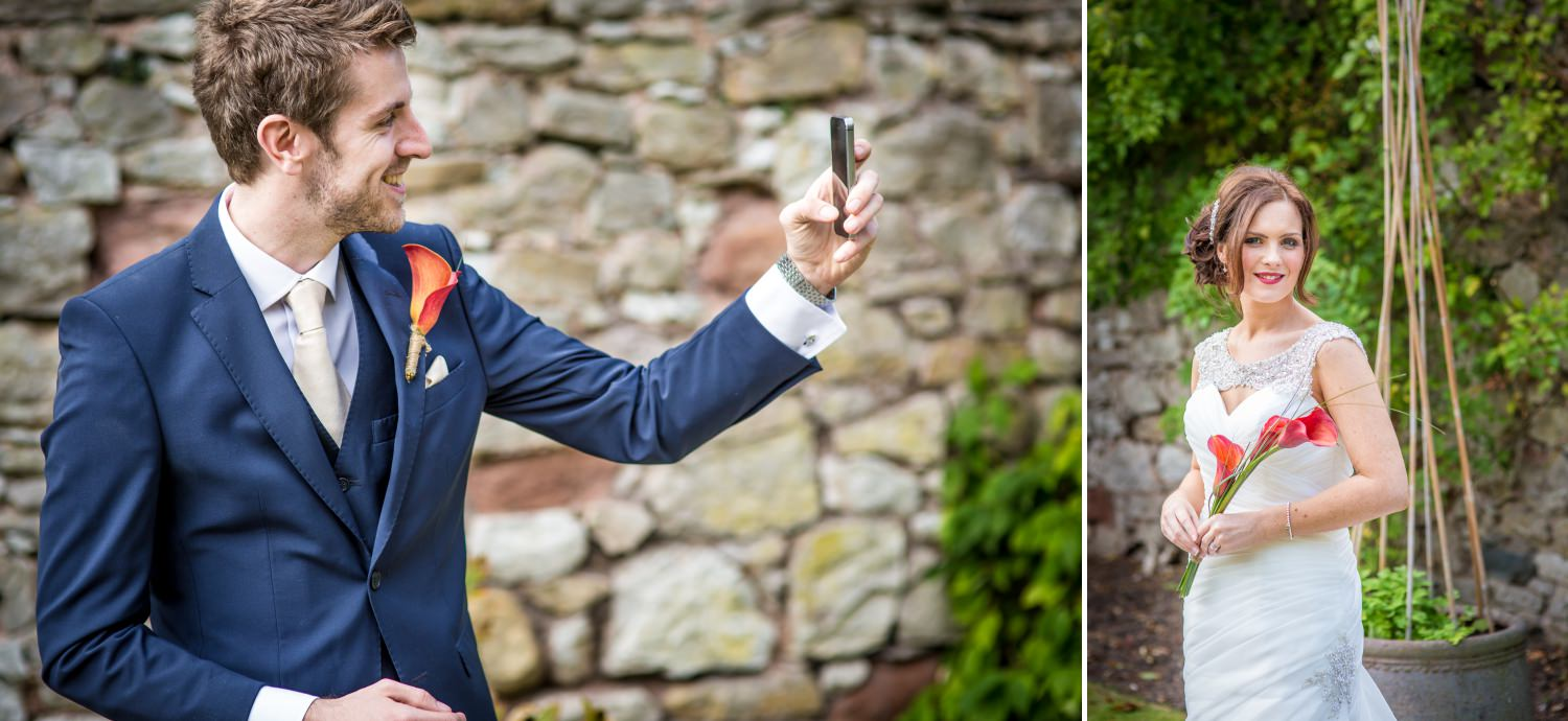 Wedding Photography portraits of the bride and groom in ruthin castle North Wales
