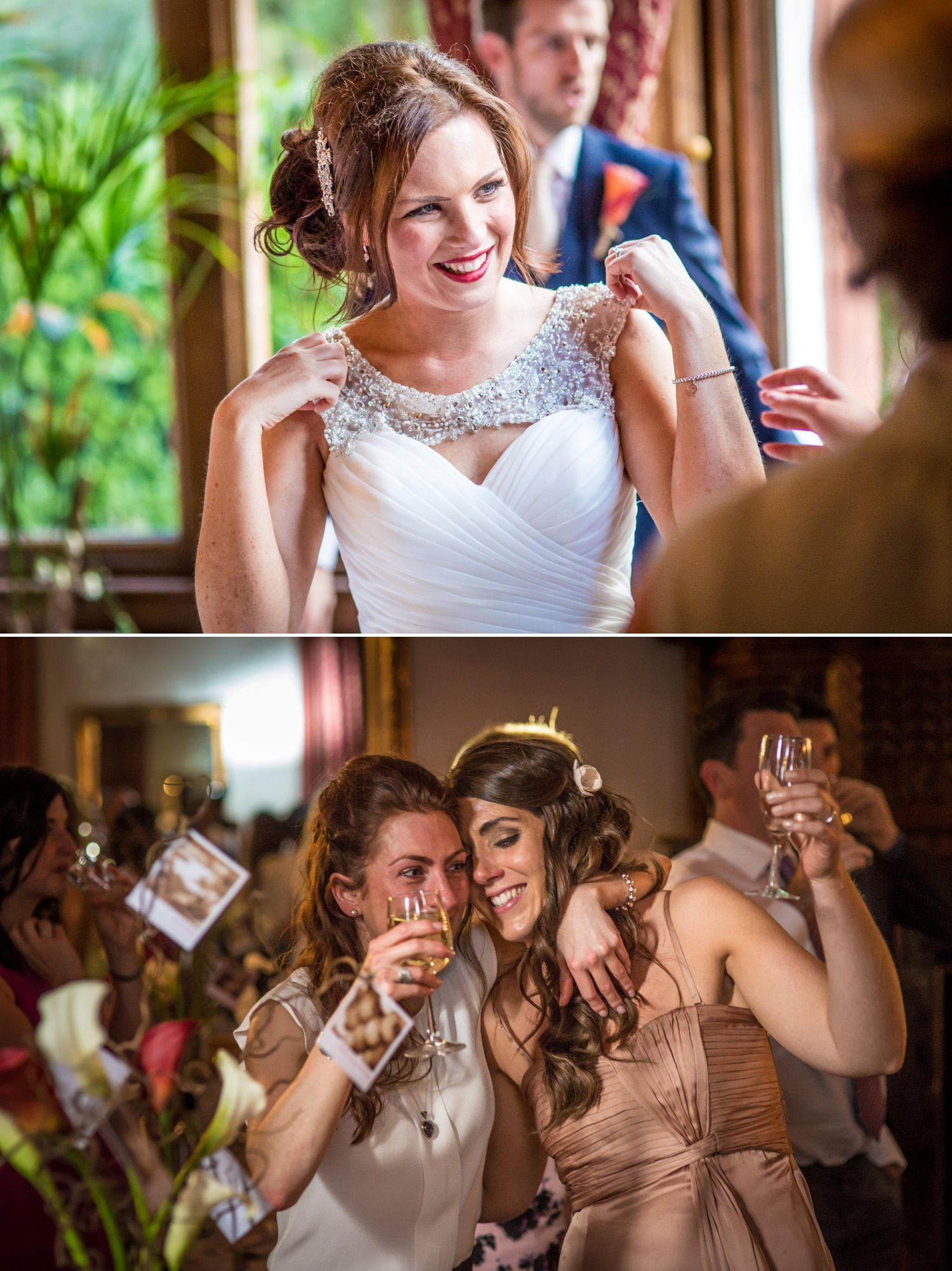 Wedding Photography candid of the bride in ruthin castle North Wales