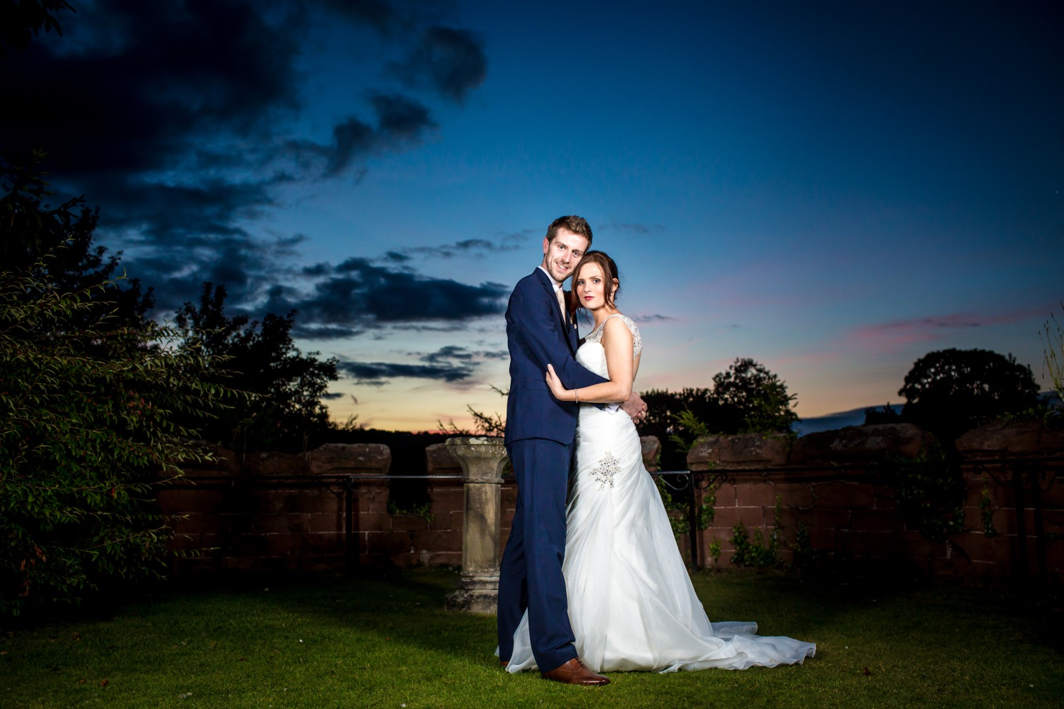 Wedding Photography evening portrait of the wedding couple in Ruthin Castle North Wales
