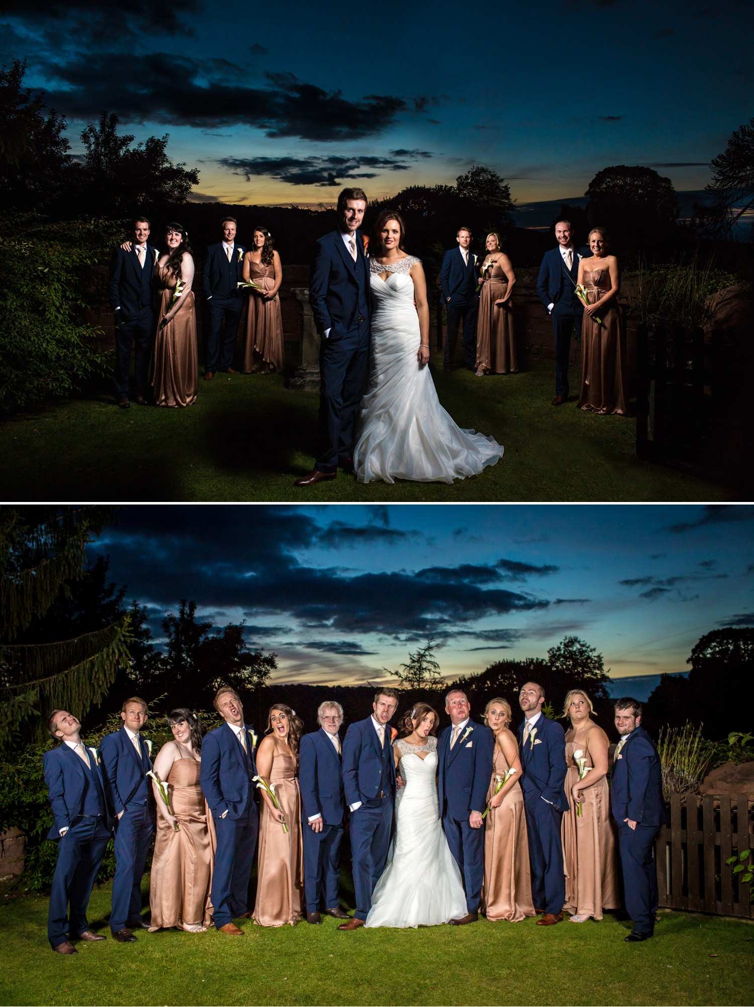 Wedding Photography evening group shots in Ruthin Castle North Wales