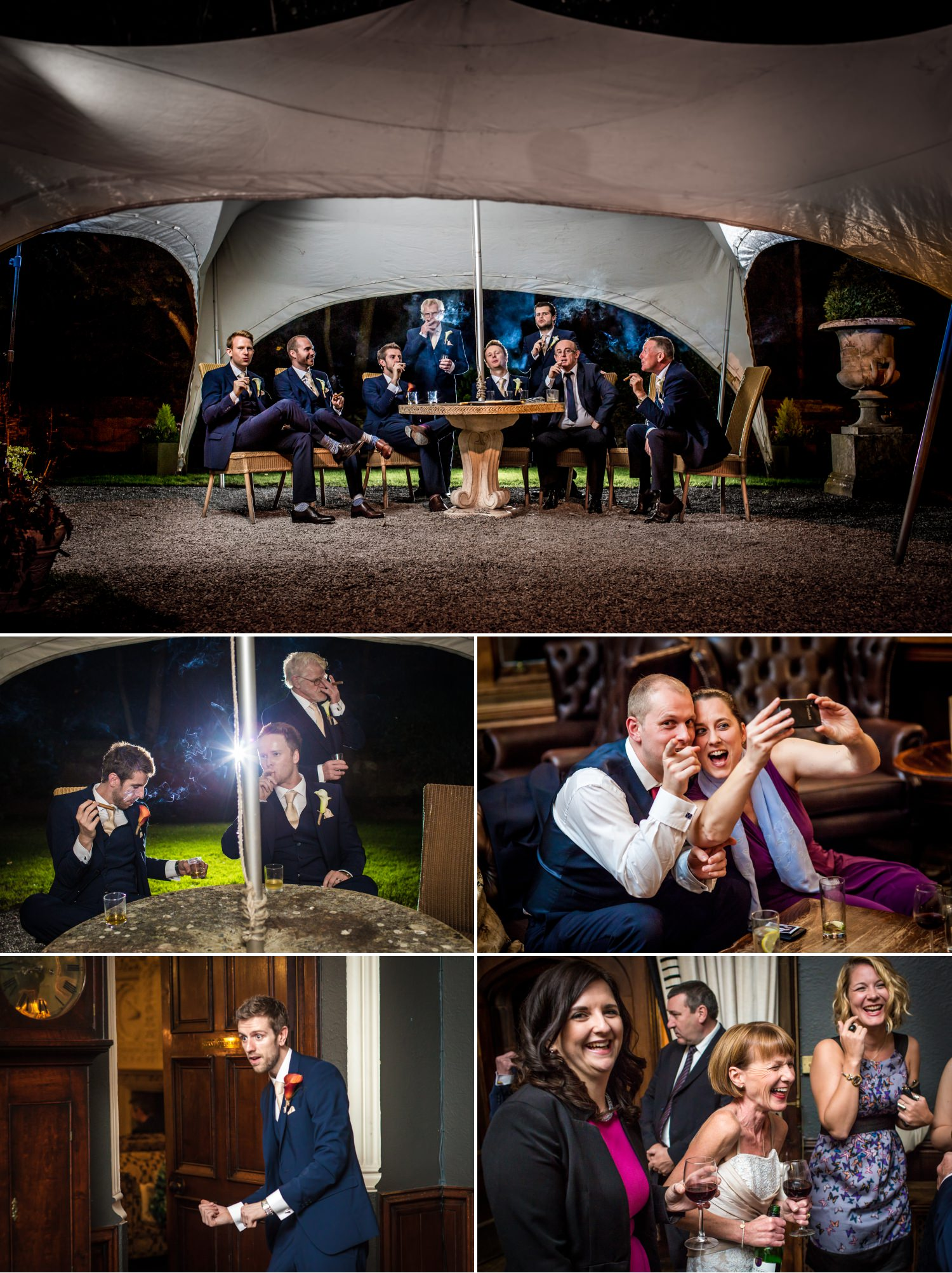 Wedding Photography smoking shots in Ruthin Castle North Wales