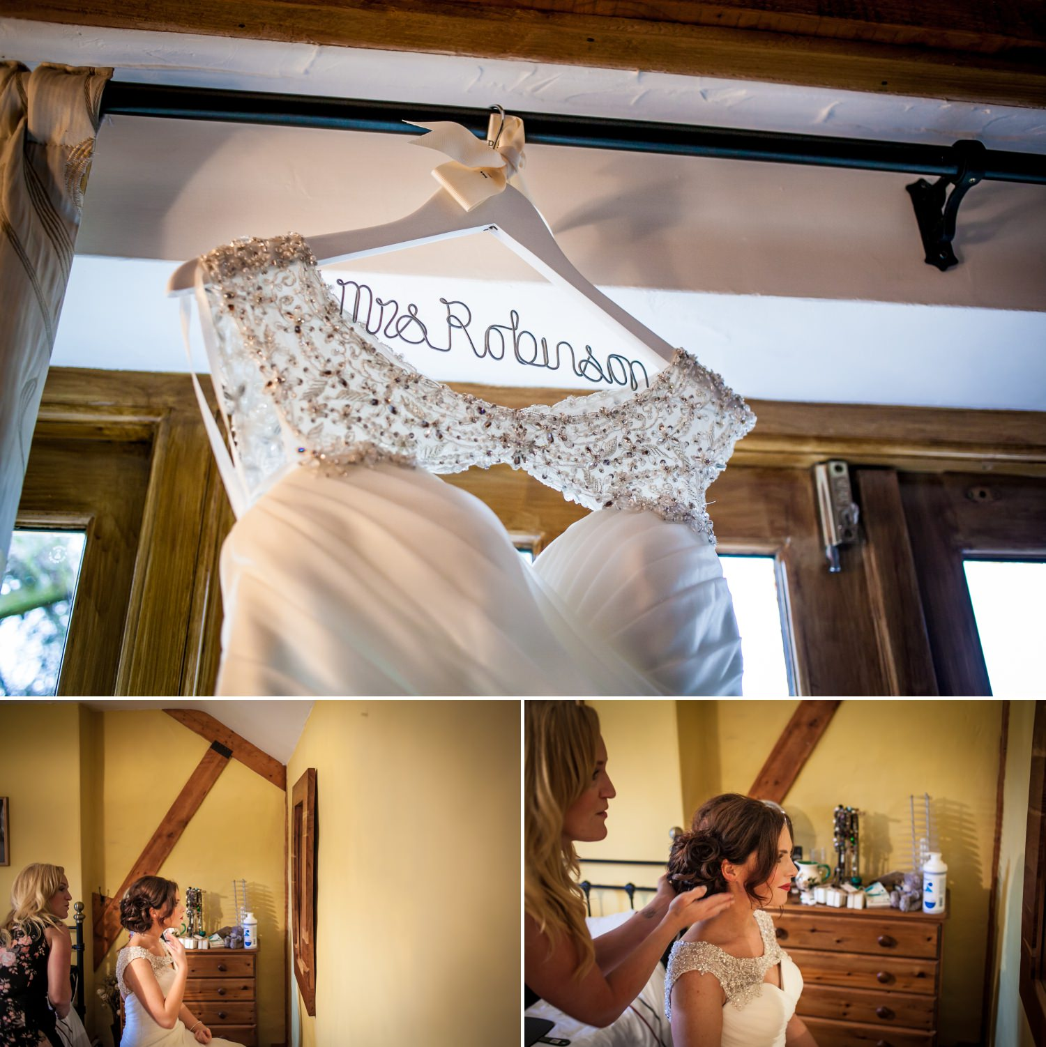 Wedding Photography of the bride getting in her wedding dress in North Wales