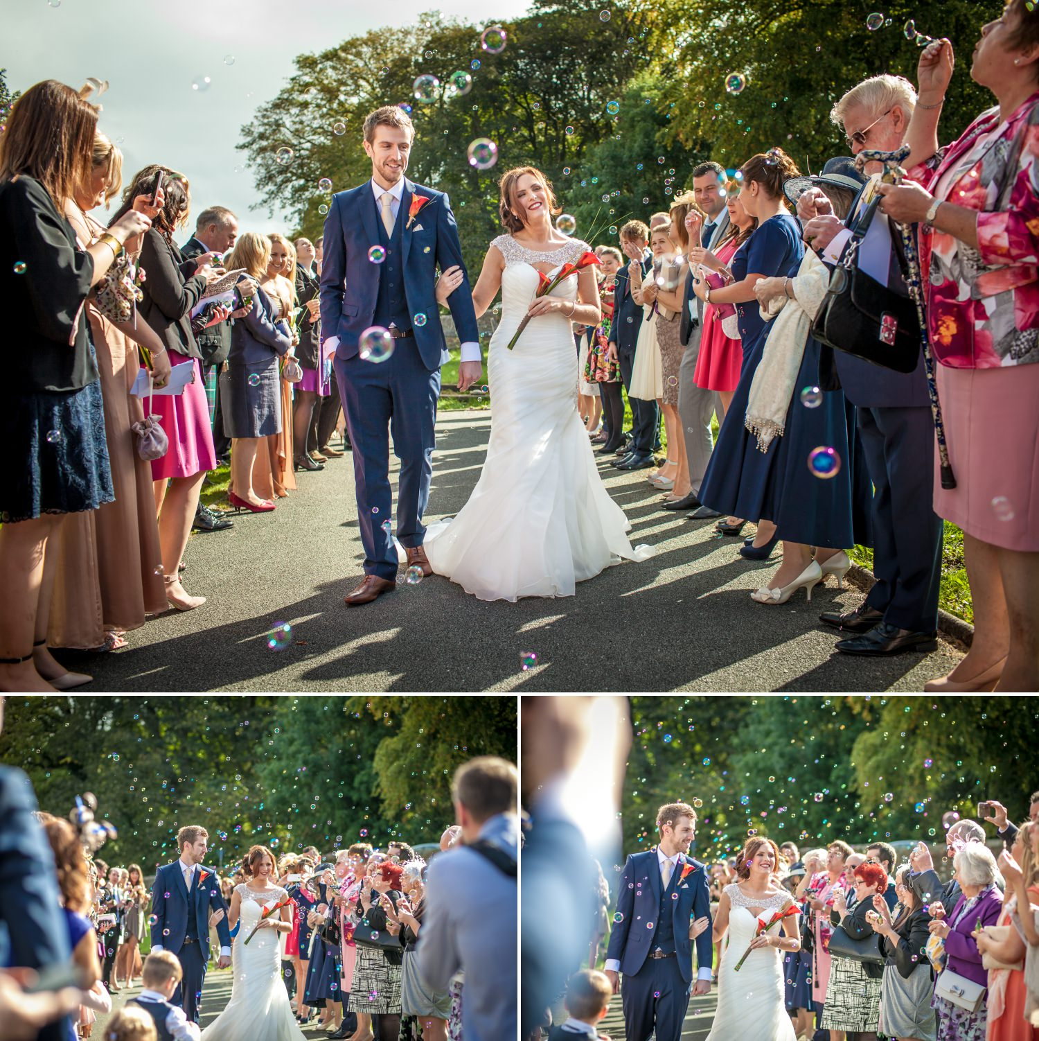 Wedding Photography of bubble confetti at the wedding ceremony North Wales