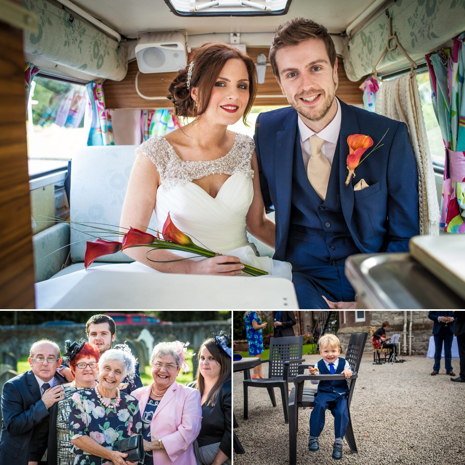 Wedding Photography of the couple in their camper van in North Wales
