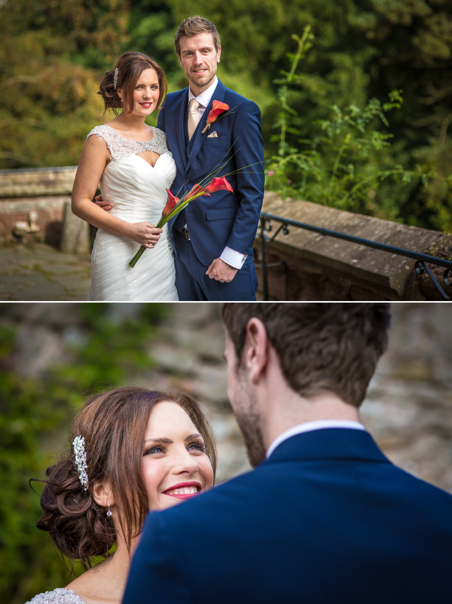 Wedding Photography portraits of the couple in Ruthin Castle, North Wales
