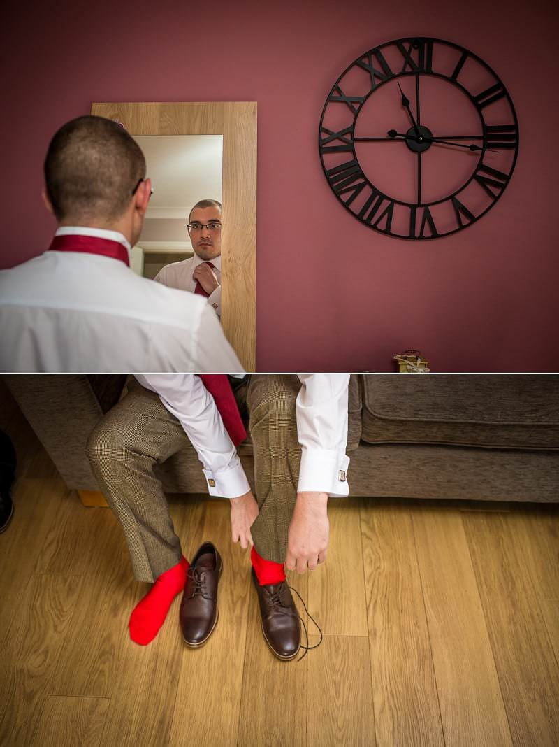 Wedding photography groom getting ready in North Wales, Ruthin