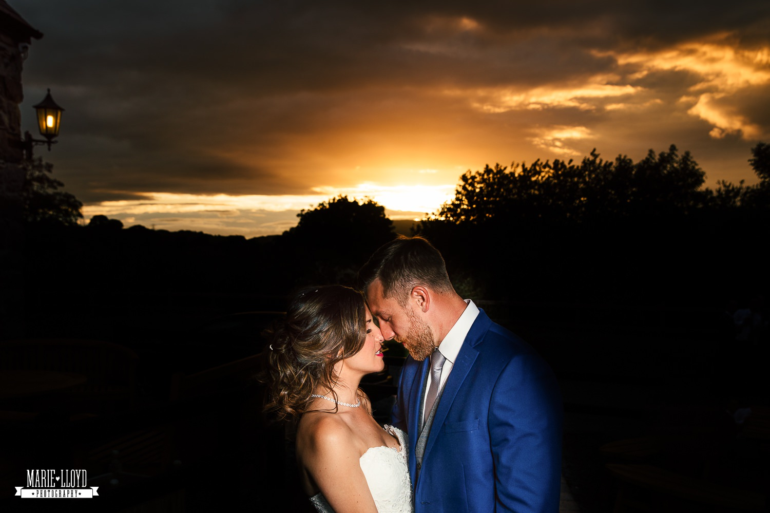 Wedding Photography sunset portrait at Plas Isaf, North Wales