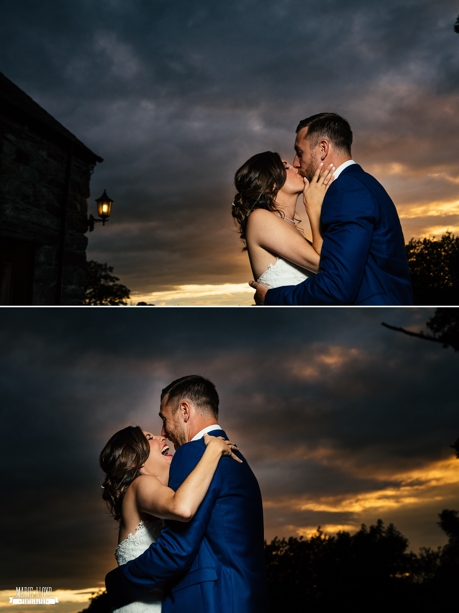Wedding Photography kiss in the sunset at Plas Isaf, North Wales