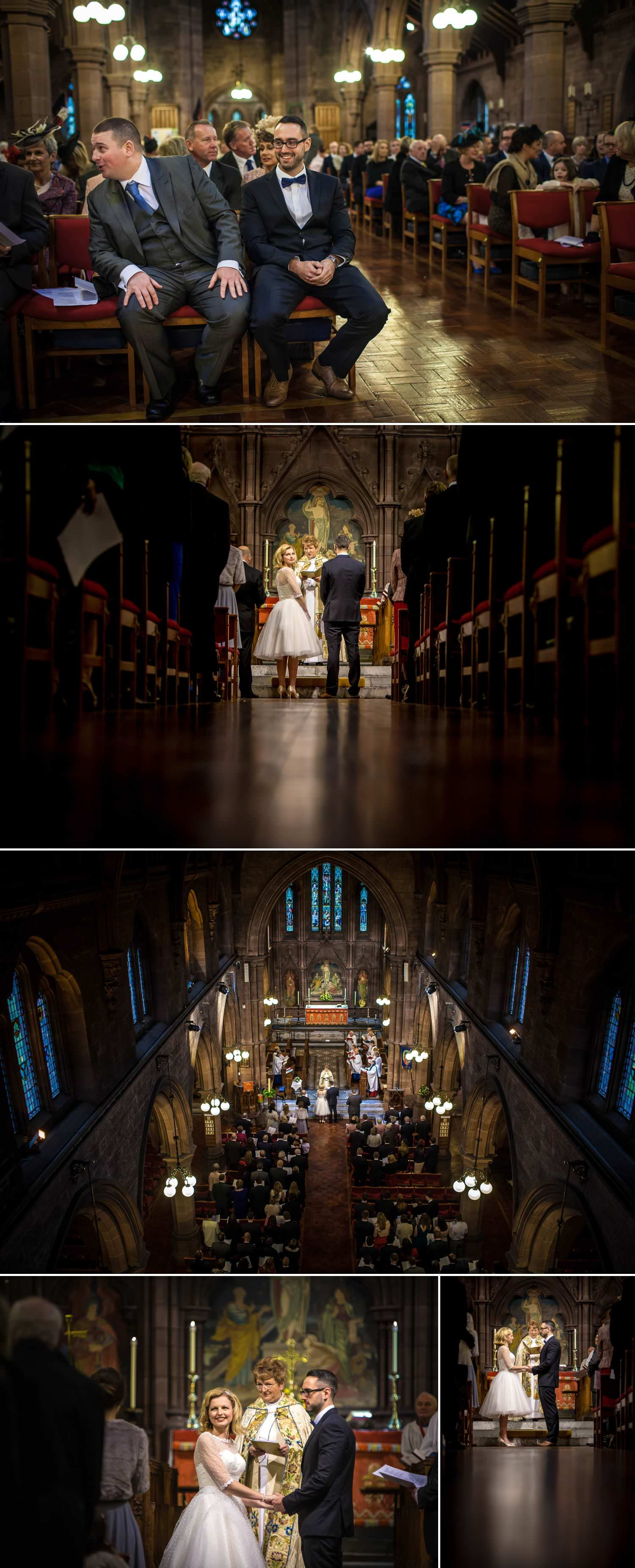 Wedding photographer of the ceremony in the church in Chester