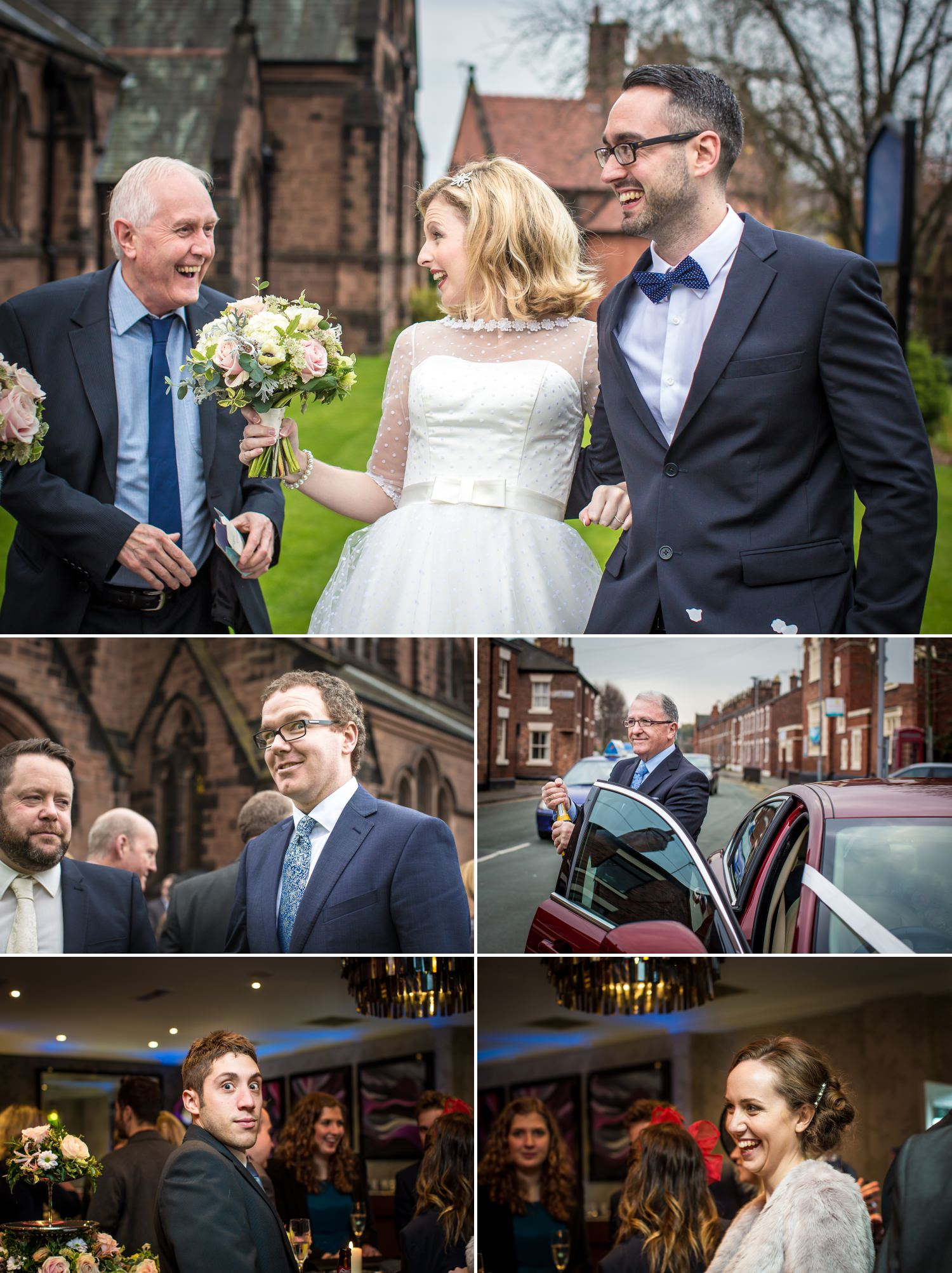 Wedding photography of guests outside the church in chester