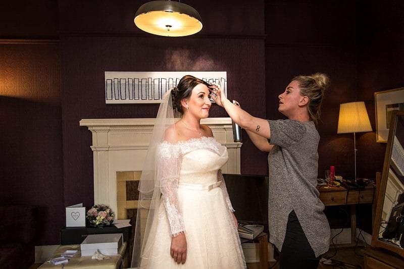 Bride in dress at ruthin north wales