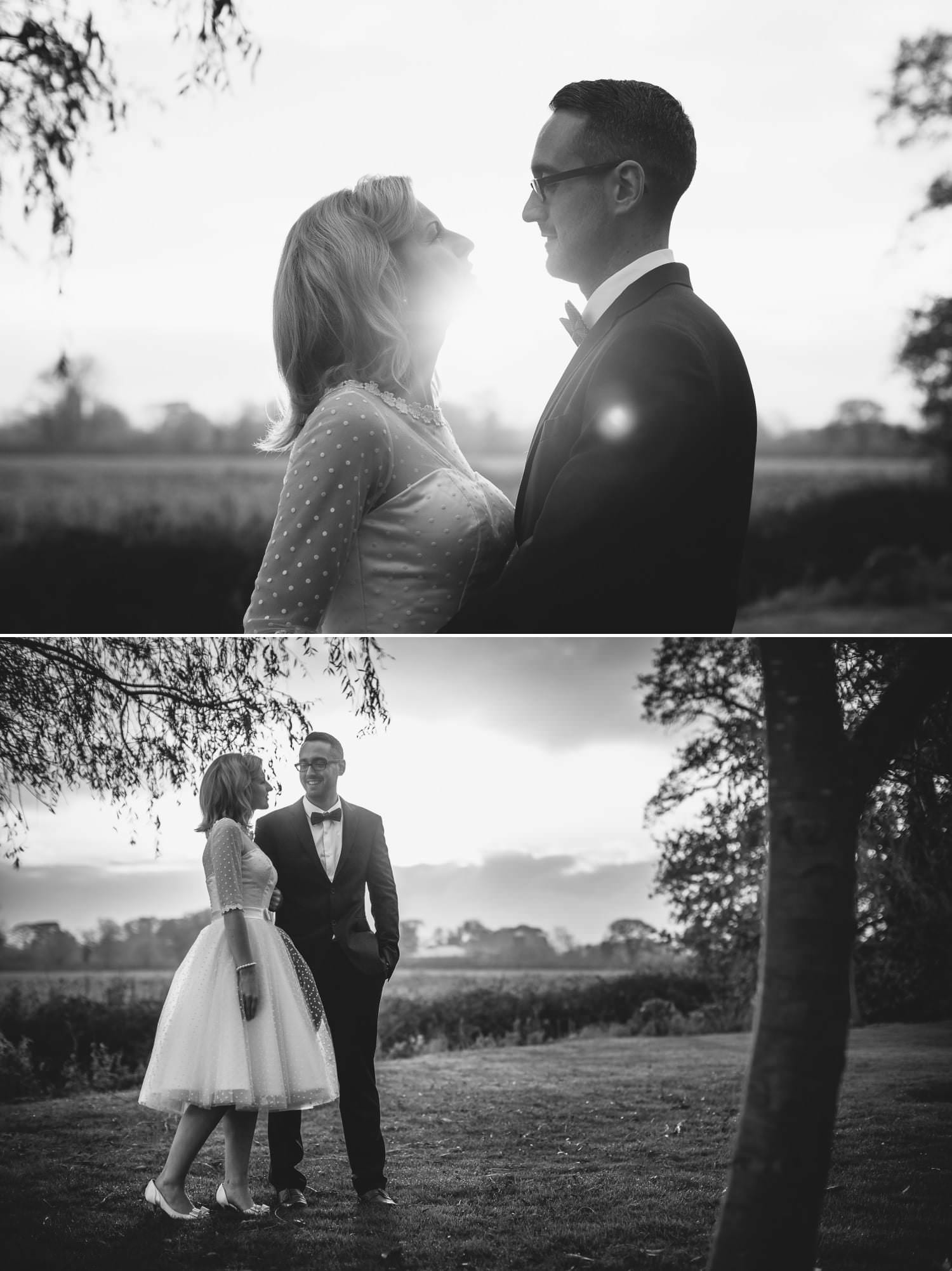 Black and white wedding photography portraits in the grosvenor pulford gardens in Chester