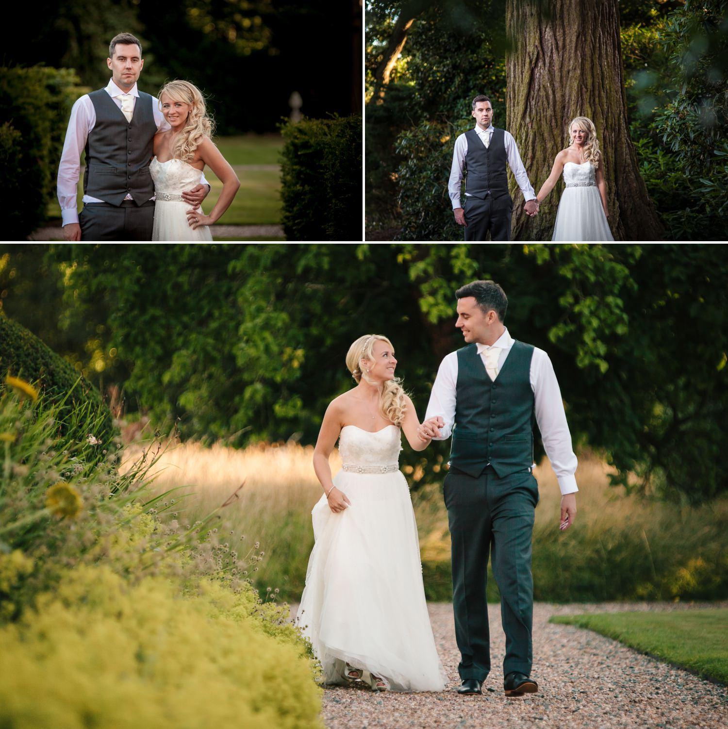 Wedding Photography portraits in garden of Iscoyd Park