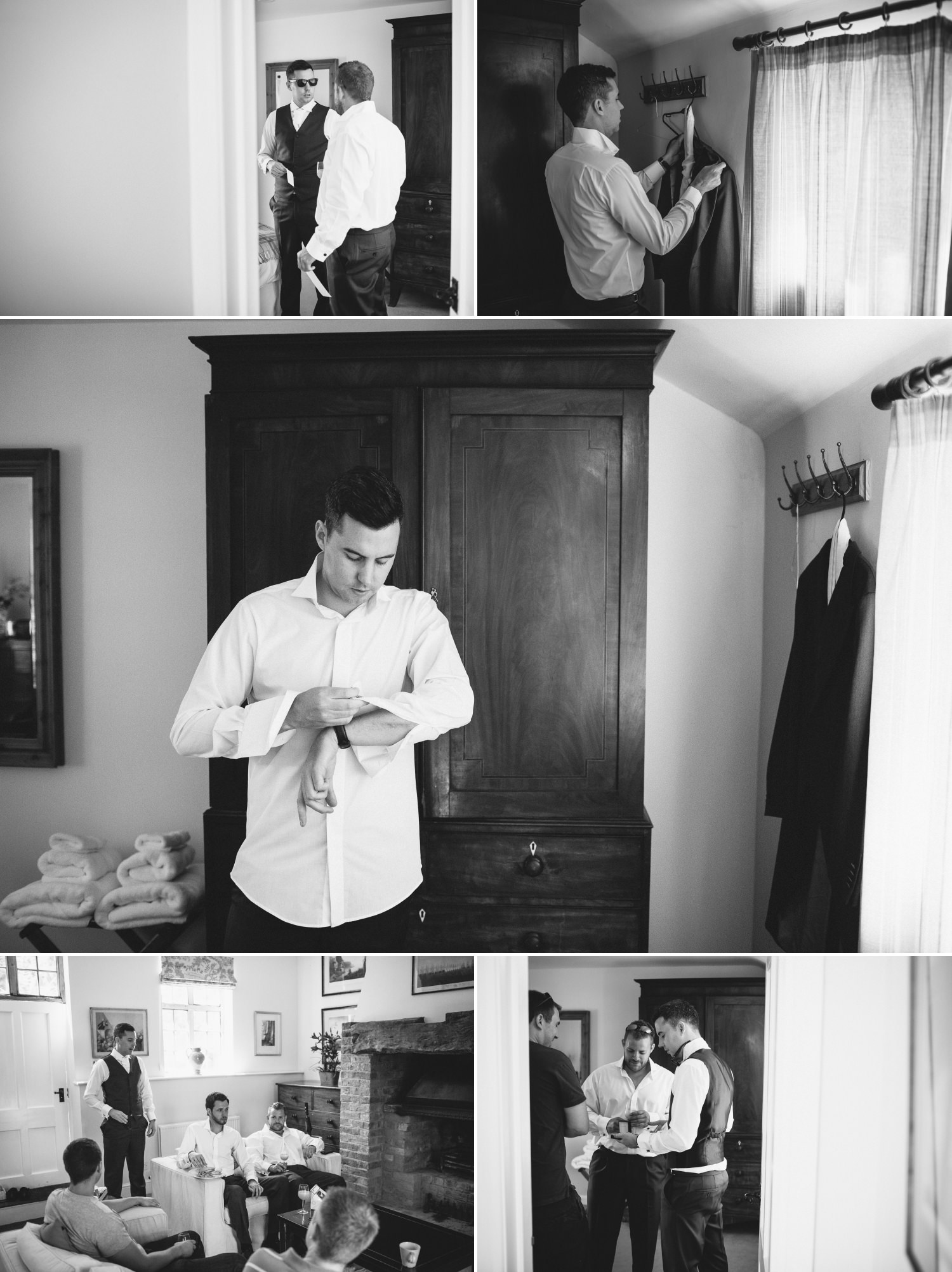 Wedding Photography of groom getting ready at Iscoyd Park