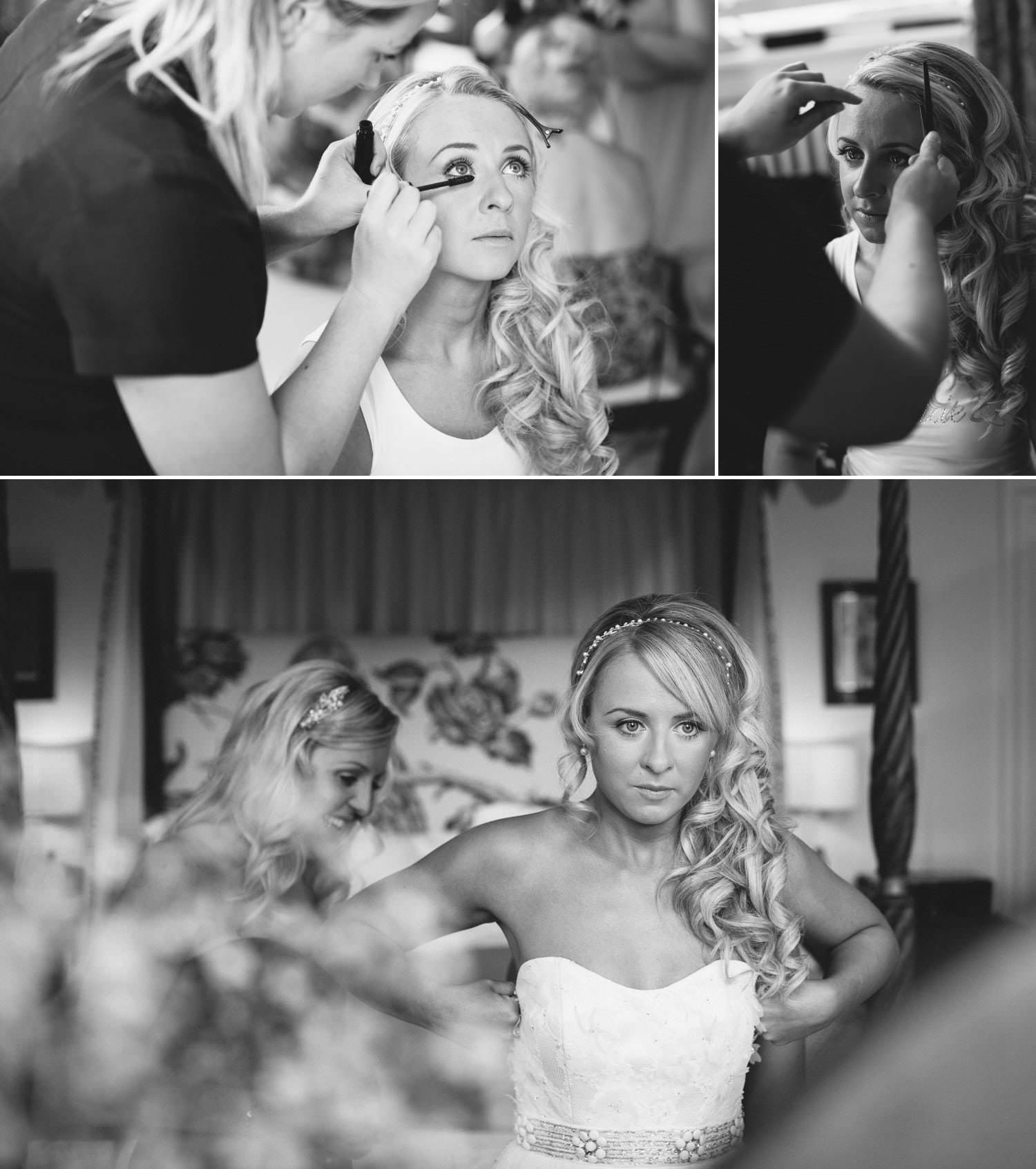 Wedding Photography in black and white of bride getting ready for her wedding at Iscoyd Park