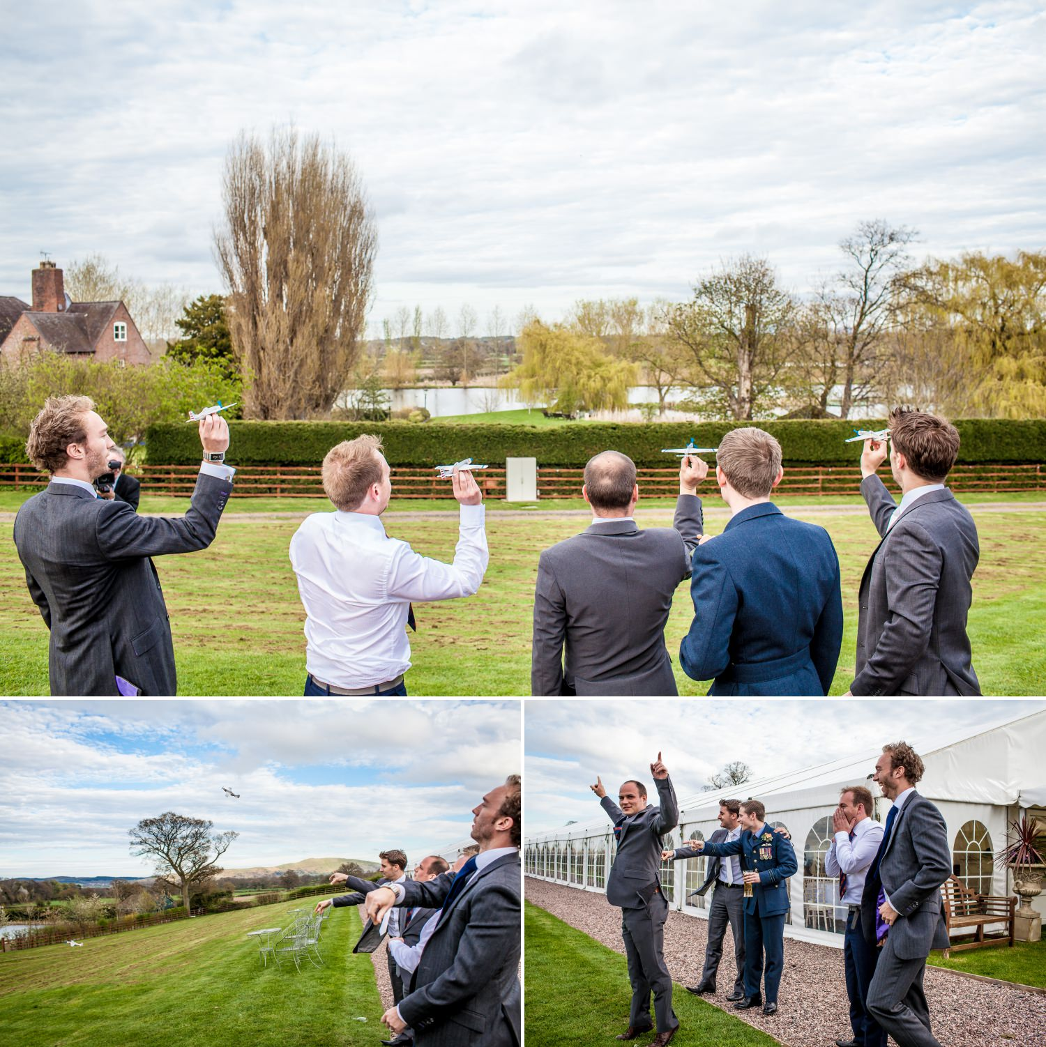 Weding Photography of  guests flying paper airplanes at Netley Hall, Shropshire