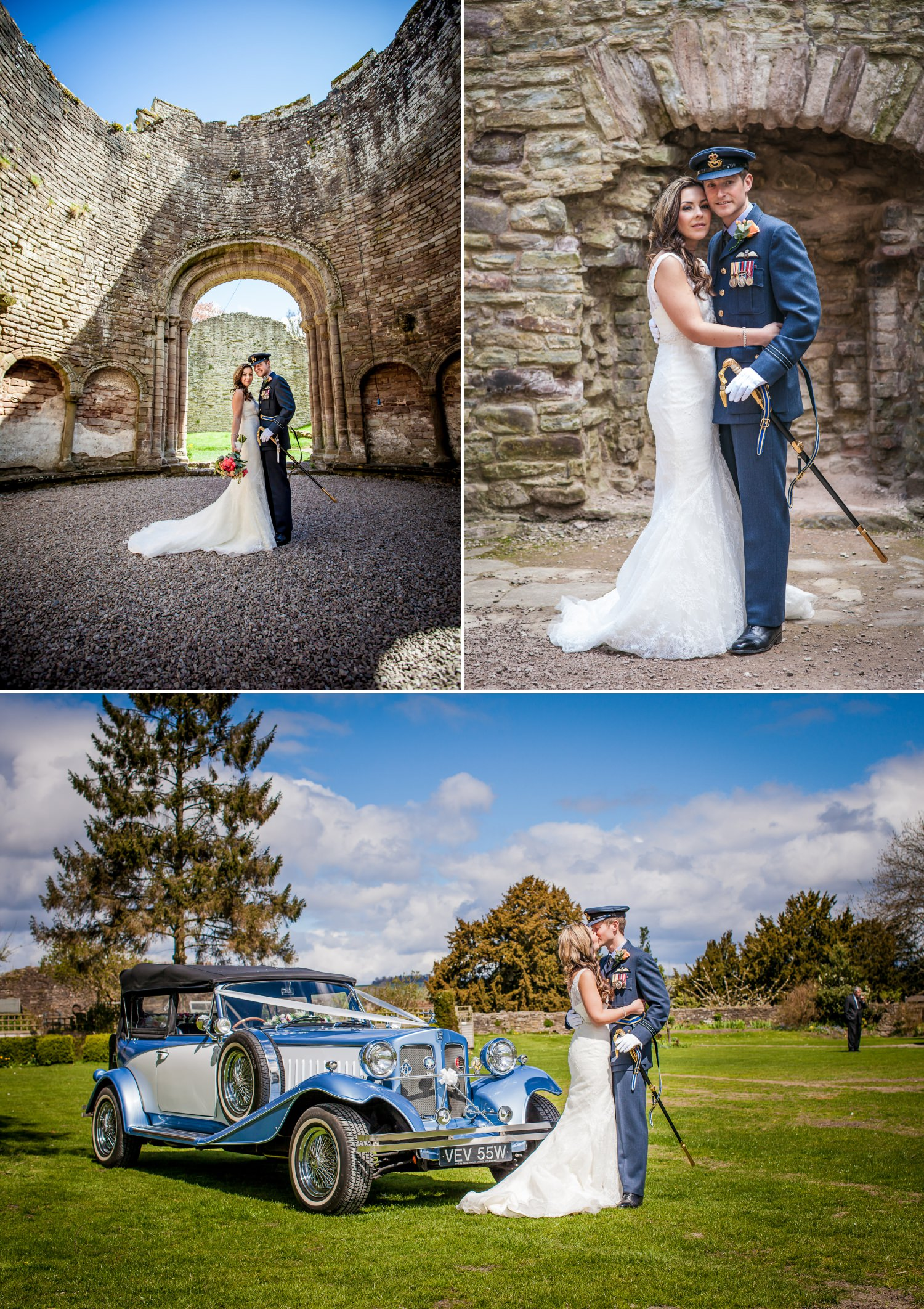 Weding Photography of bride and groom having portraits in Ludlow Castle, Shropshire