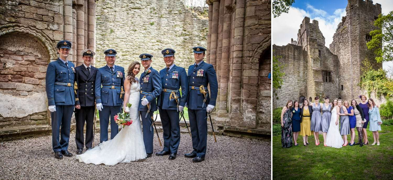 Weding Photography  of group shots in Ludlow Castle, Shropshire