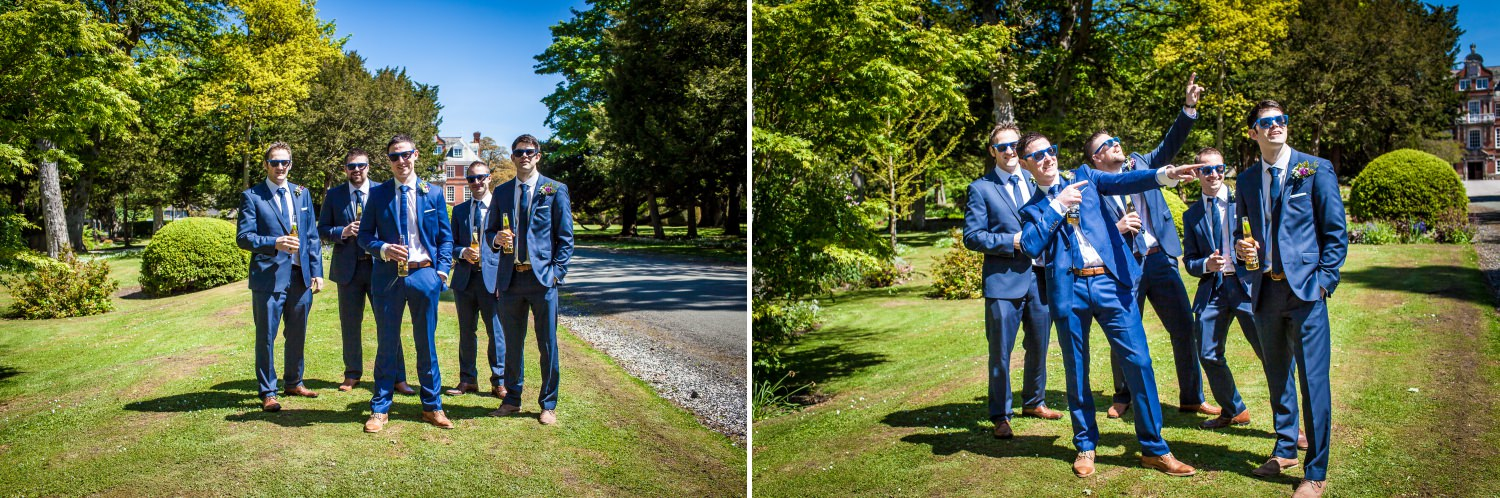 wedding photography of the groom and friends north wales