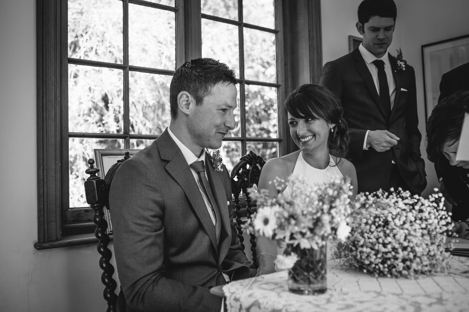wedding photography in black and white of the ceremony at Bodrhyddan Hall north wales