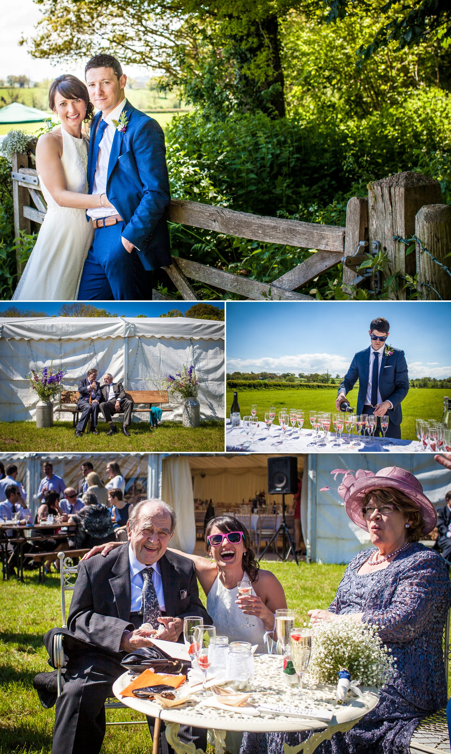 wedding photography of bride and groom with guests in north wales