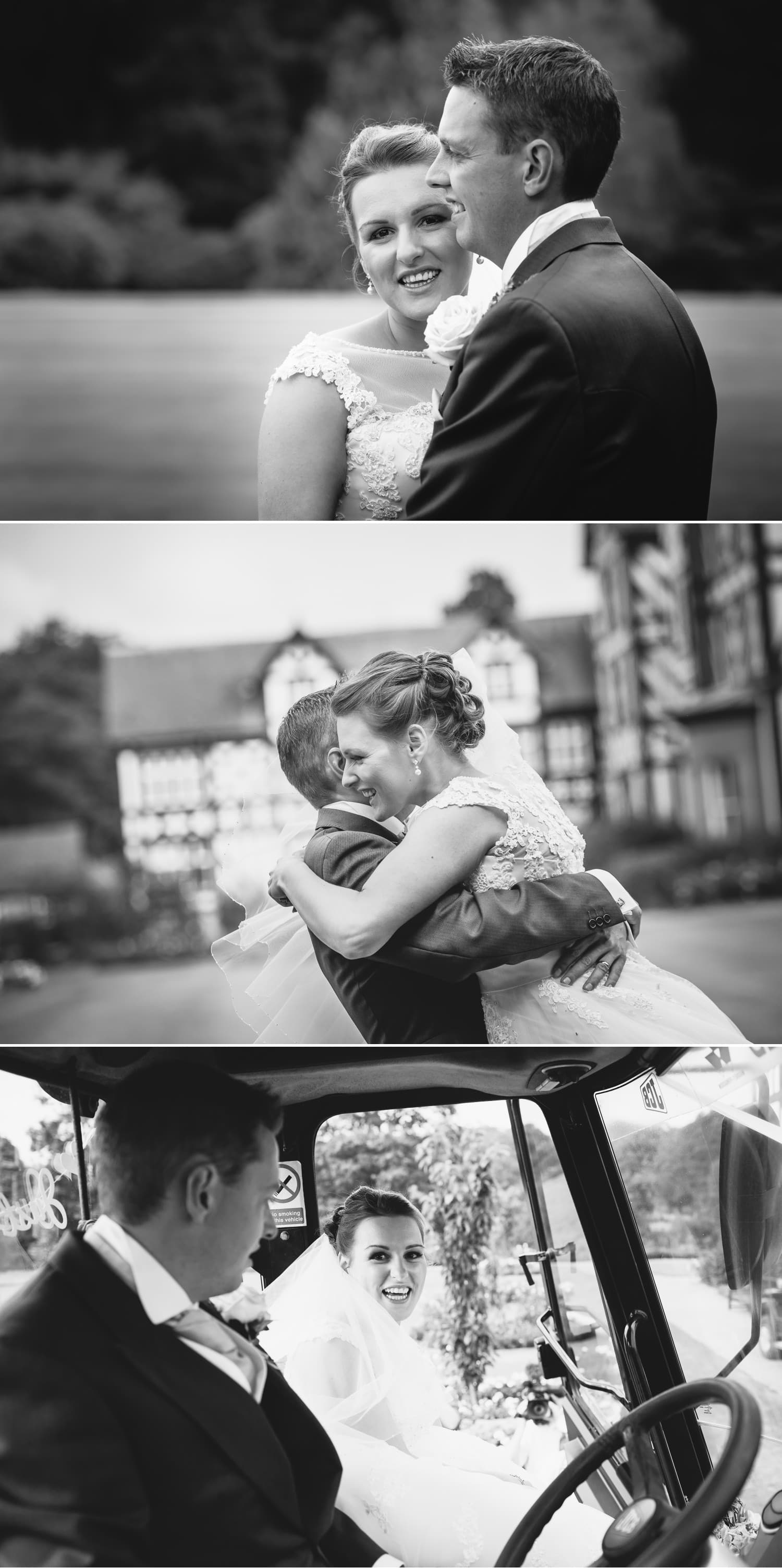 Wedding Photography Wales bride and groom travelling to reception