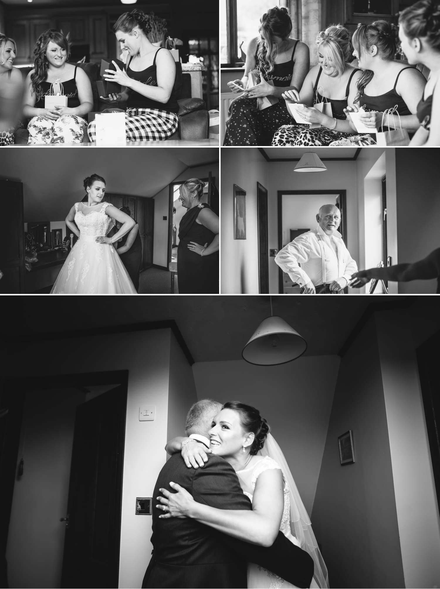 Wedding Photography bride hugging father Wales
