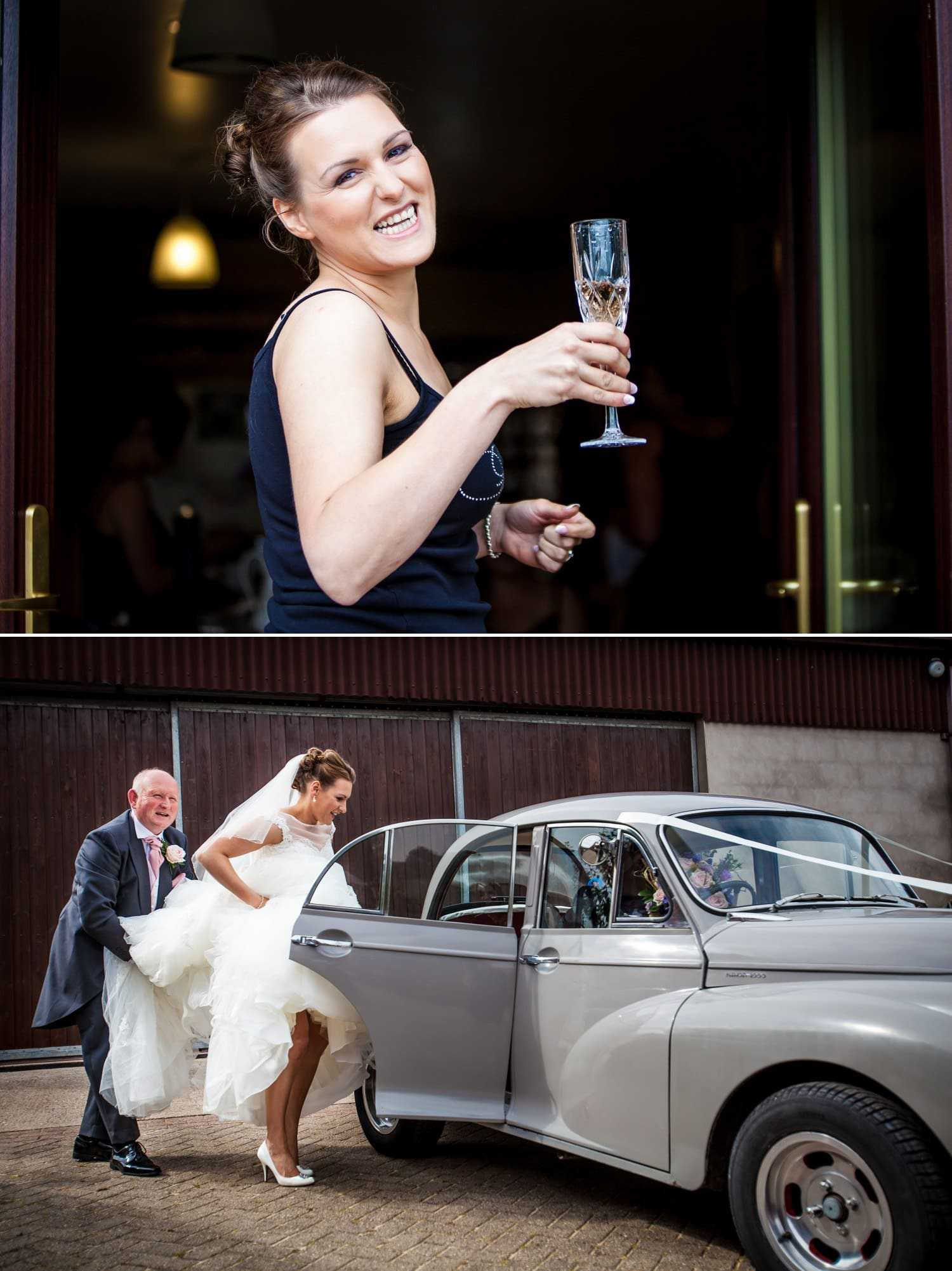 Wedding Photography bride getting into car in Wales