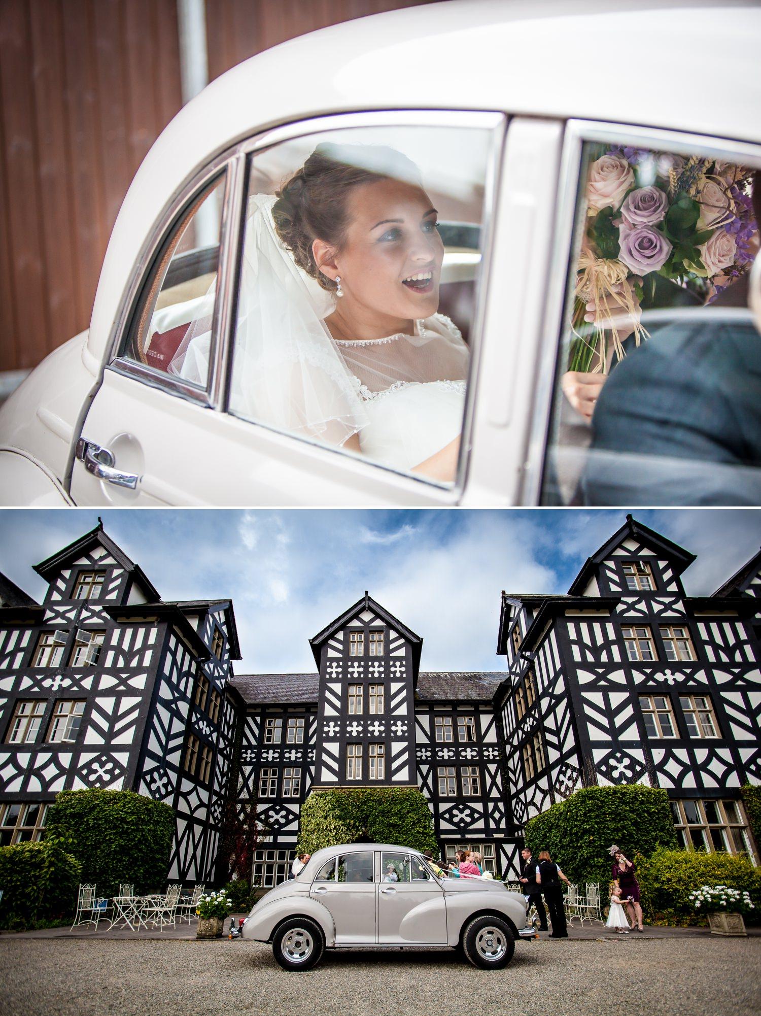 Wedding Photography bride arriving at venue Wales