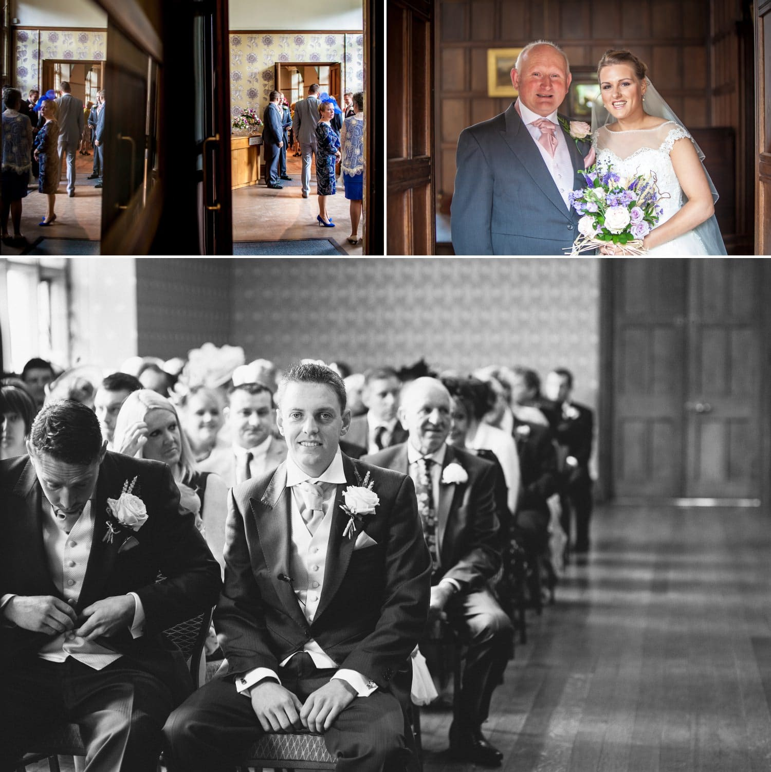Wedding Photography Wales, groom waiting for bride