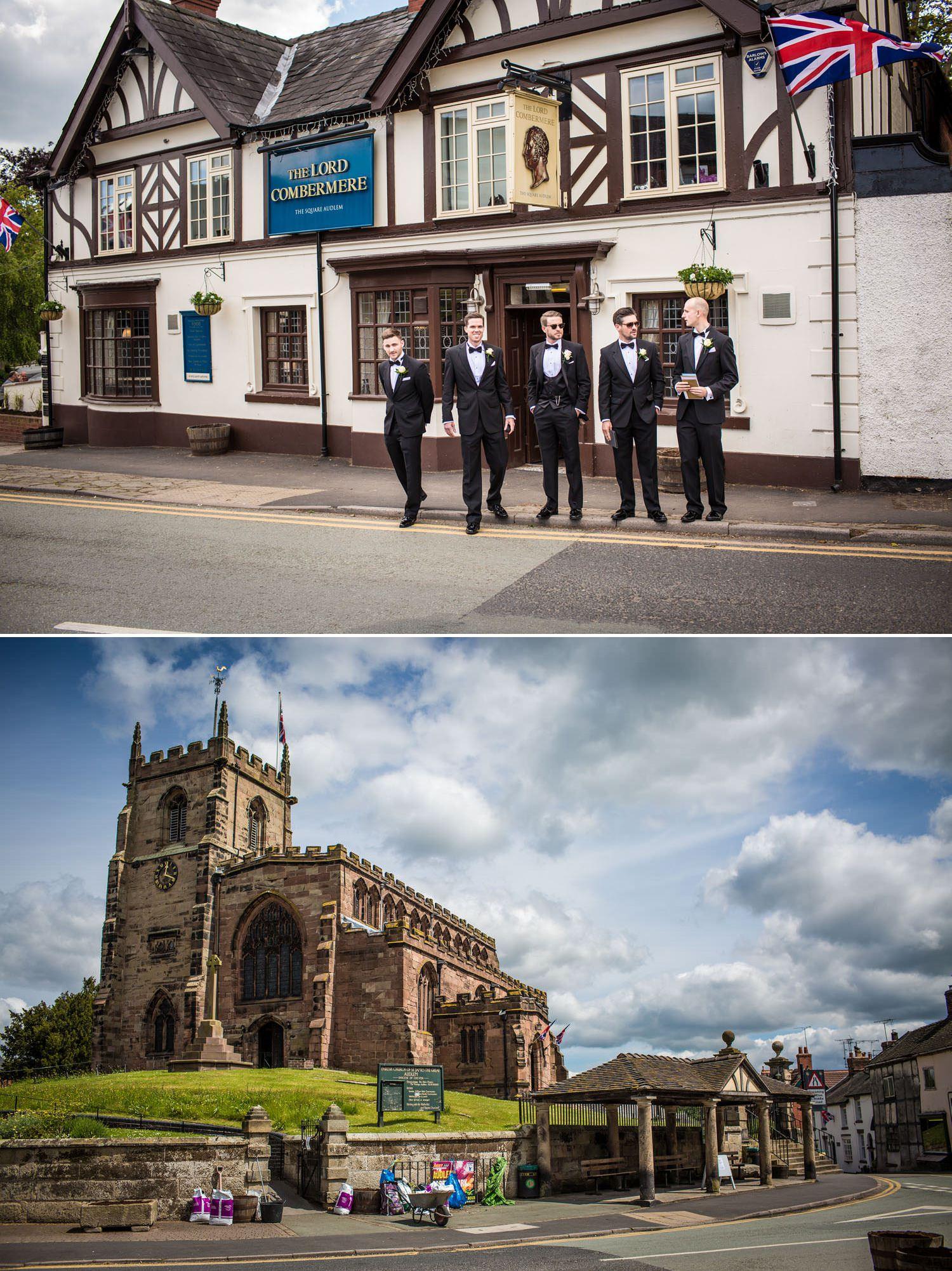 Wedding Photography Tern Hill Hall, Shropshire groom arriving at church