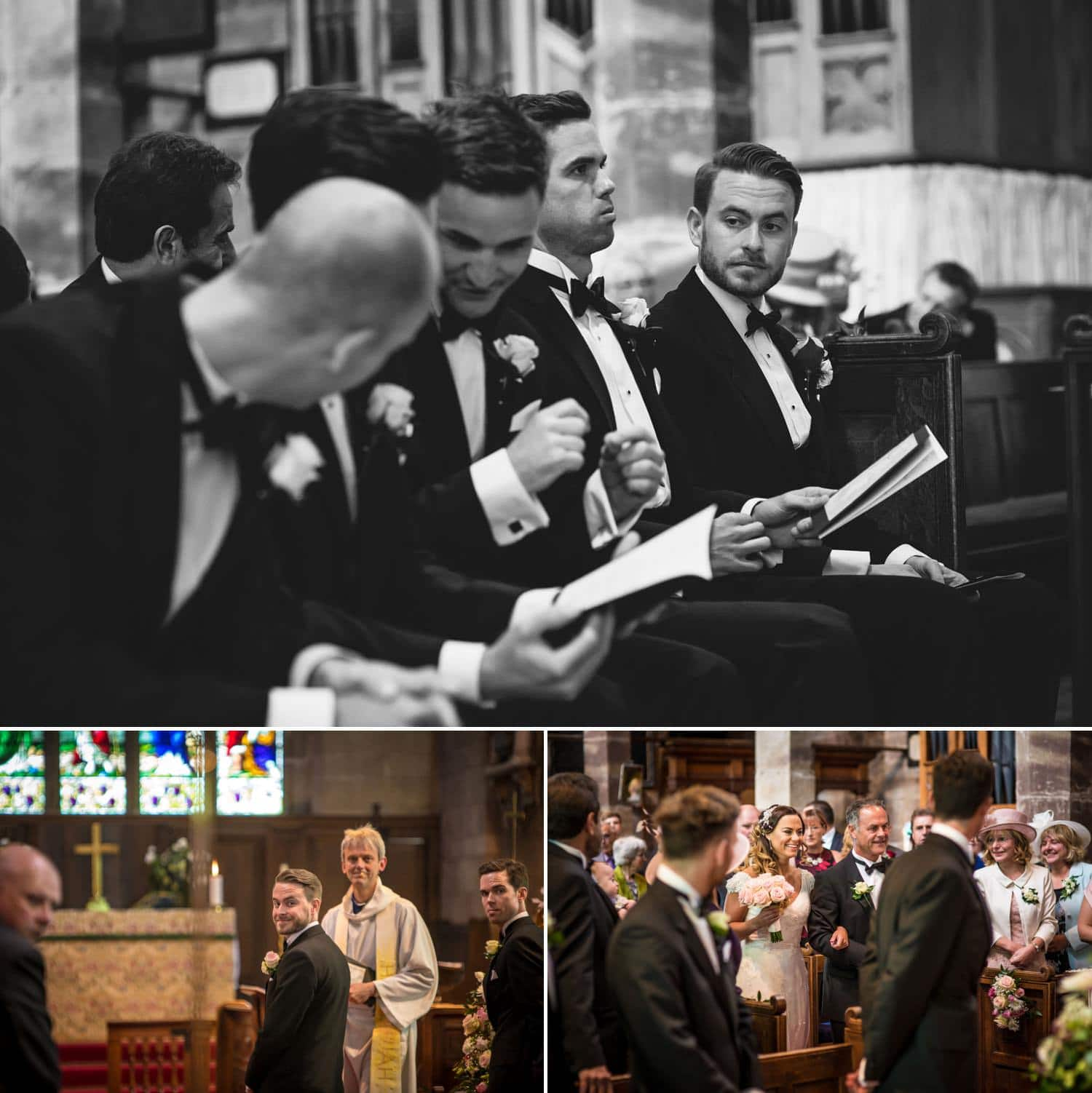 Wedding Photography Shropshire, groom in church