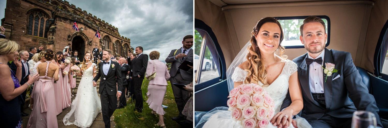 Wedding Photography Shropshire, couple leaving wedding ceremony